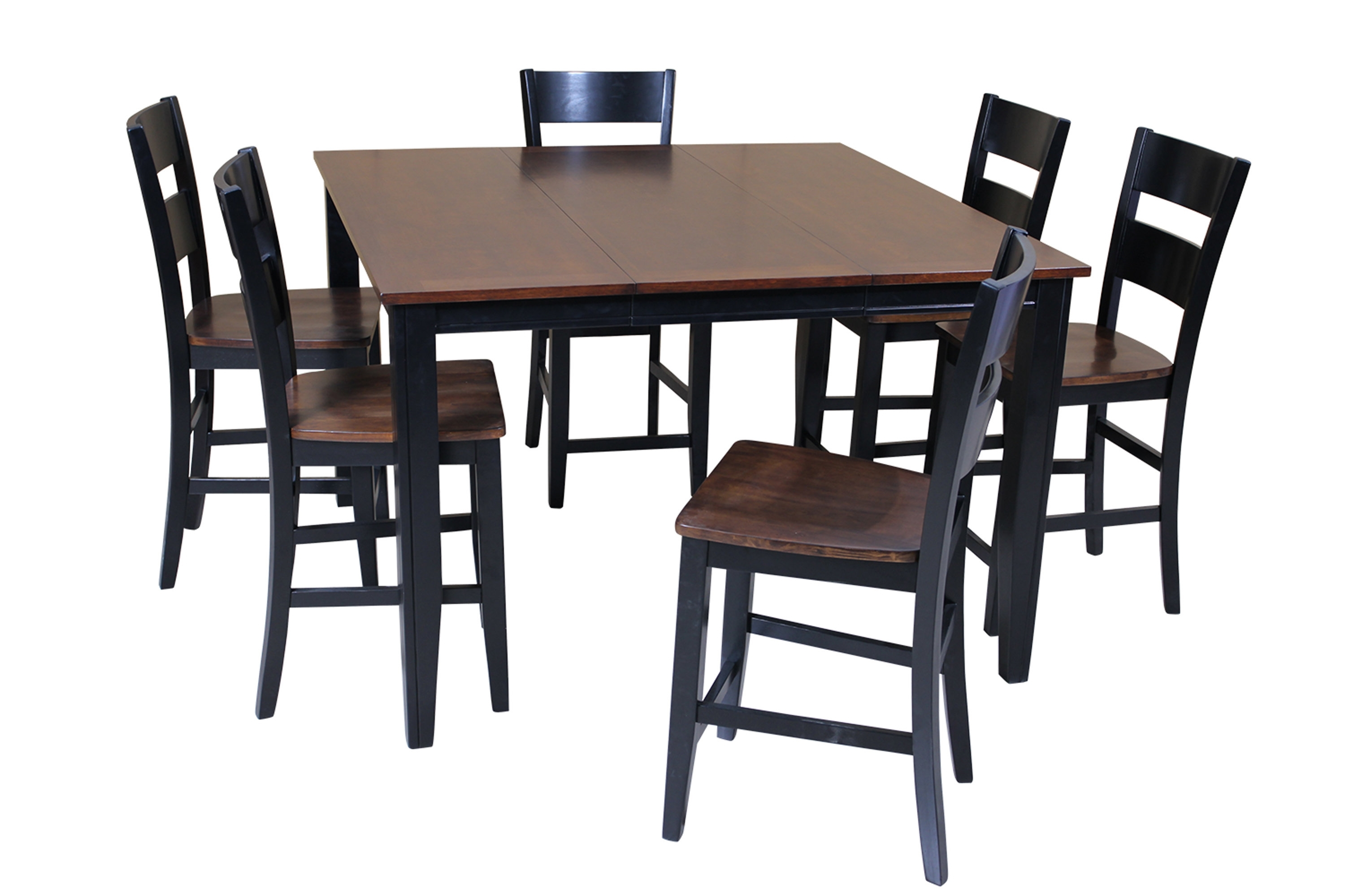 Red Barrel Studio Blessington 7 Piece Counter Height Solid Wood With Most Recently Released Chandler 7 Piece Extension Dining Sets With Wood Side Chairs (Image 18 of 20)