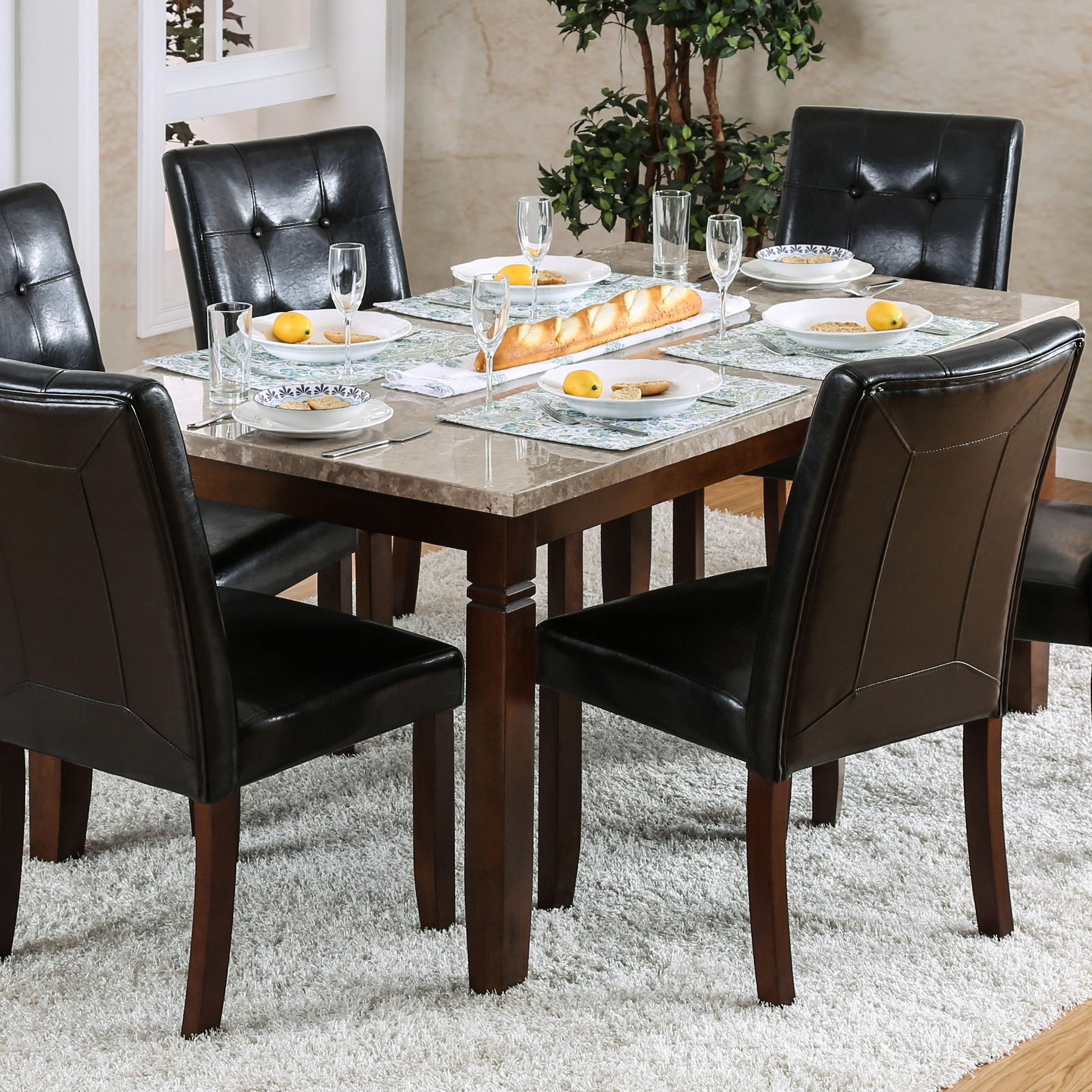 Red Barrel Studio Gibbons 7 Piece Dining Set | Wayfair For Most Current Candice Ii 7 Piece Extension Rectangular Dining Sets With Uph Side Chairs (Photo 4 of 20)