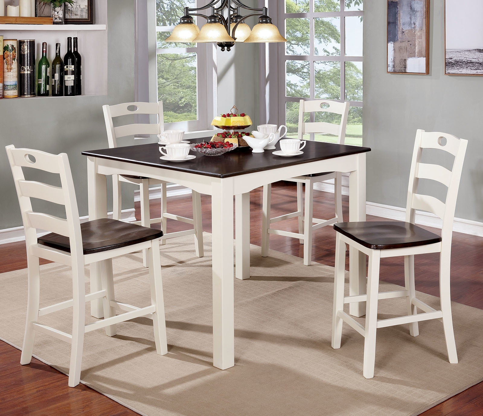 Red Barrel Studio Harkins Wooden 5 Piece Counter Height Dining Table With Most Popular Candice Ii 5 Piece Round Dining Sets (Image 13 of 20)