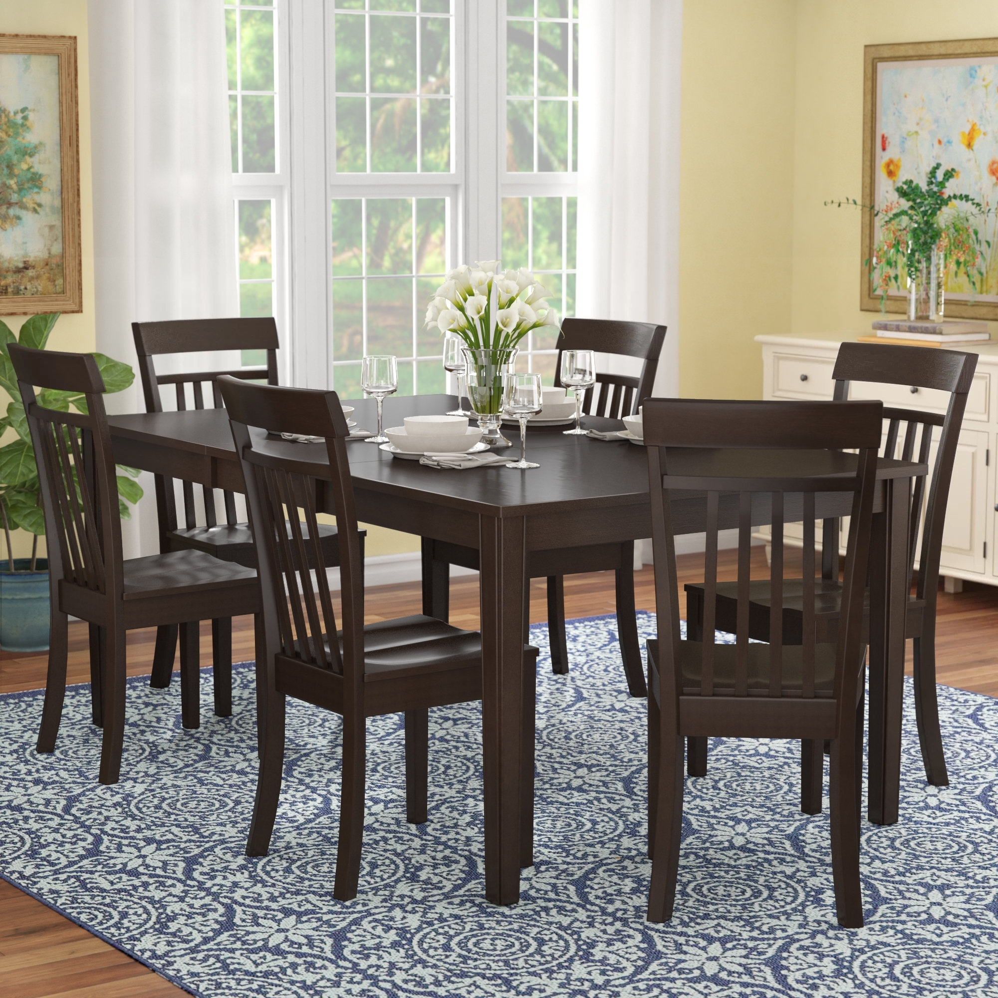Red Barrel Studio Lindstrom 7 Piece Dining Set & Reviews | Wayfair Within Recent Craftsman 7 Piece Rectangle Extension Dining Sets With Side Chairs (View 20 of 20)
