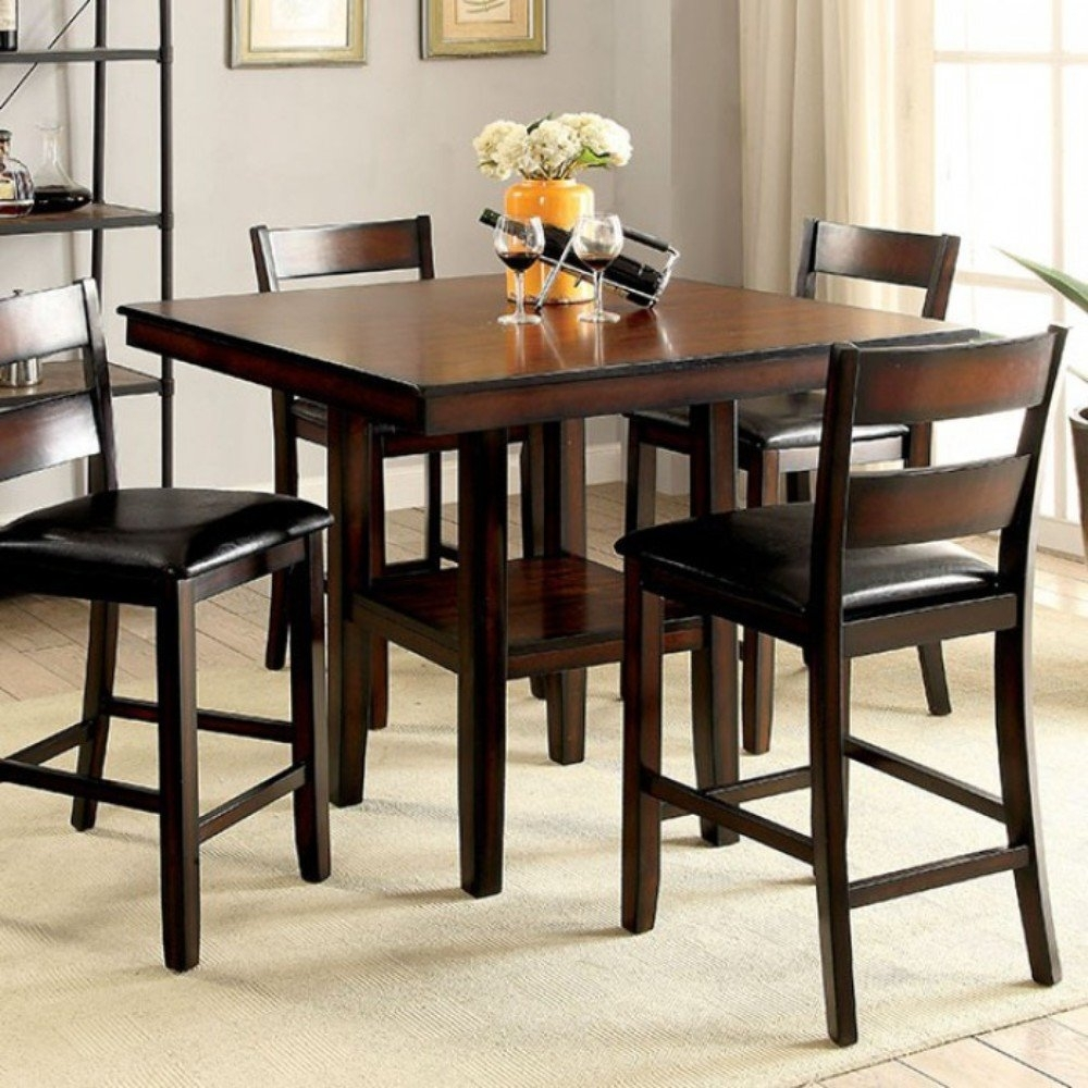 Red Barrel Studio Rj 5 Piece Counter Height Dining Set | Wayfair For Most Up To Date Candice Ii 5 Piece Round Dining Sets (Photo 9 of 20)