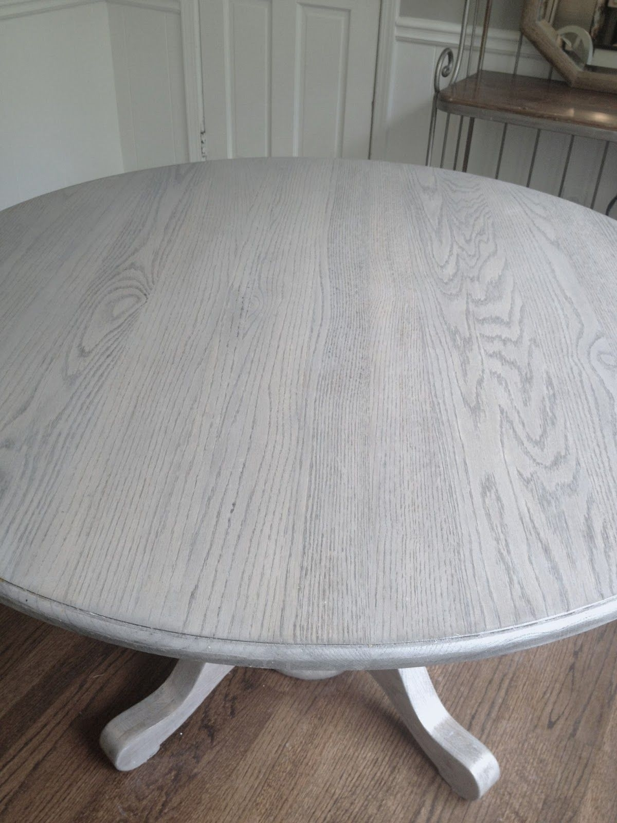Refinishing Dining Table Gray!!long And Found: Diy Kitchen Table In Most Recently Released Washed Old Oak & Waxed Black Legs Bar Tables (View 12 of 20)