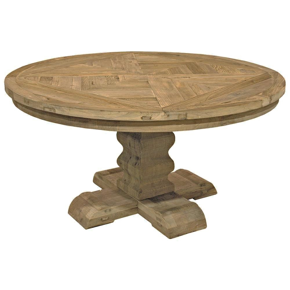 Romand French Country Reclaimed Elm Parquet Round Dining Table For Current Parquet Dining Tables (Image 17 of 20)