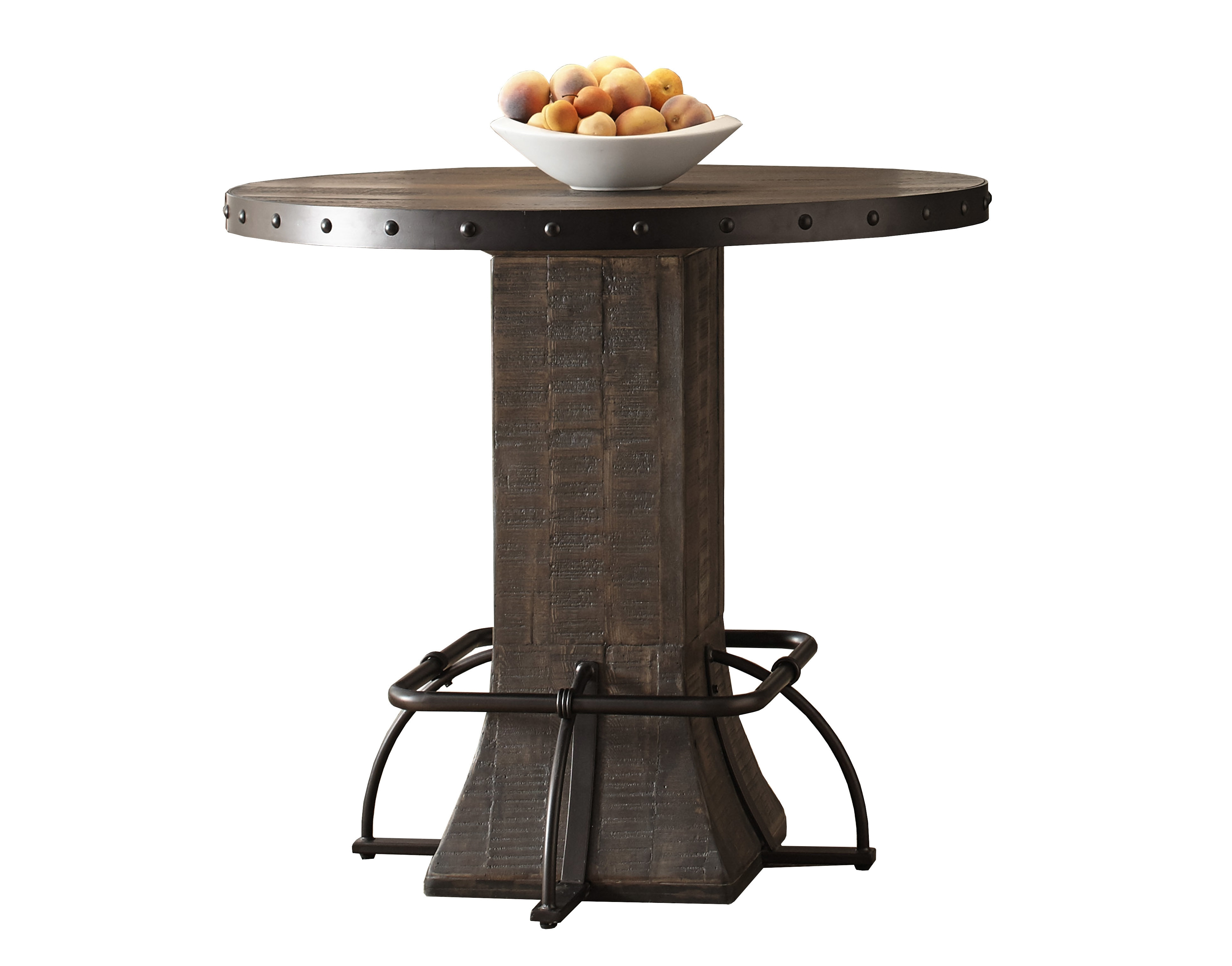 Round Bar Height Dining Table | Wayfair With Regard To Best And Newest Ina Pewter 60 Inch Counter Tables With Frosted Glass (Photo 19 of 20)