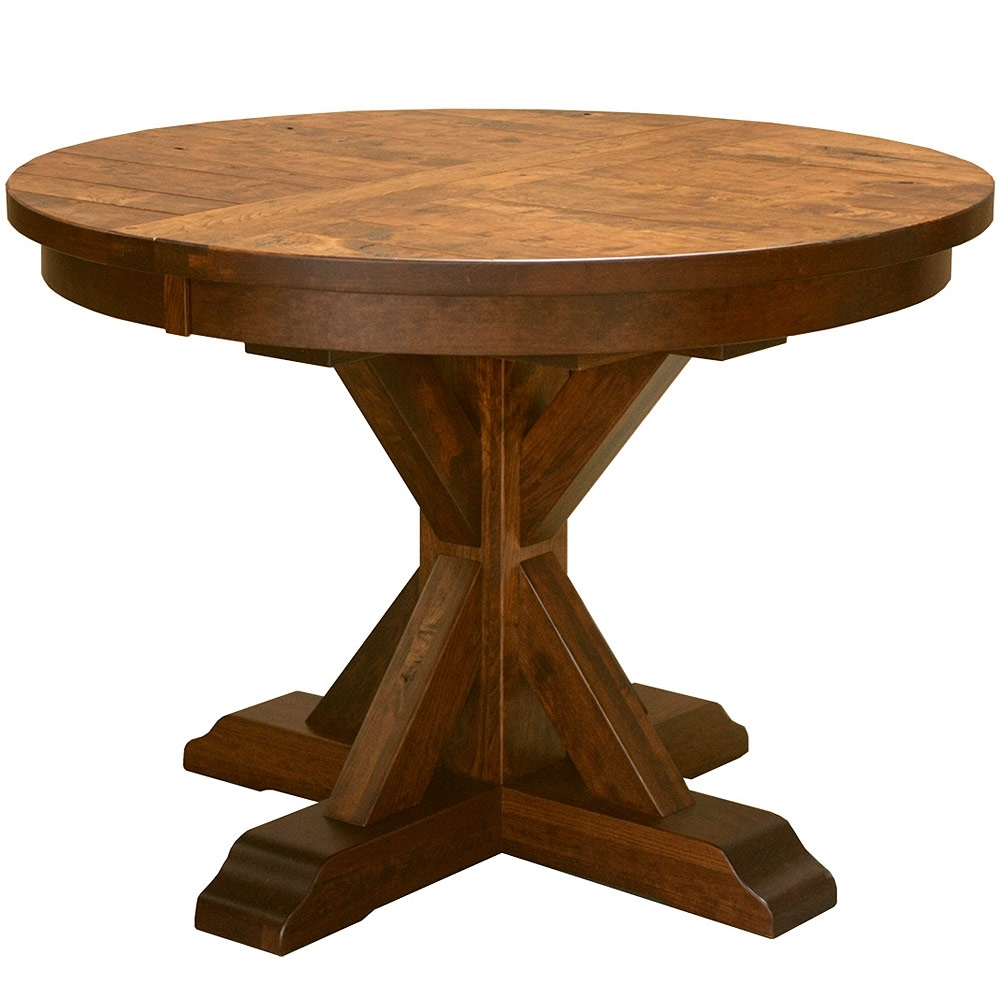 Round Dining/kitchen Table: Pedestal Table Solid Wood Plank Table In Most Current Craftsman Round Dining Tables (Image 13 of 20)