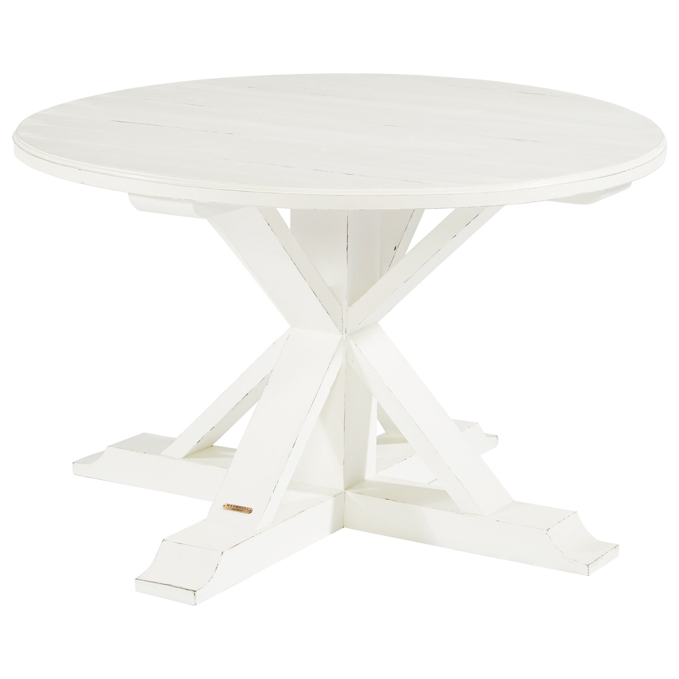 Round Table With X Shaped Pedestalmagnolia Homejoanna Gaines In 2017 Magnolia Home Taper Turned Jo's White Gathering Tables (Image 13 of 20)