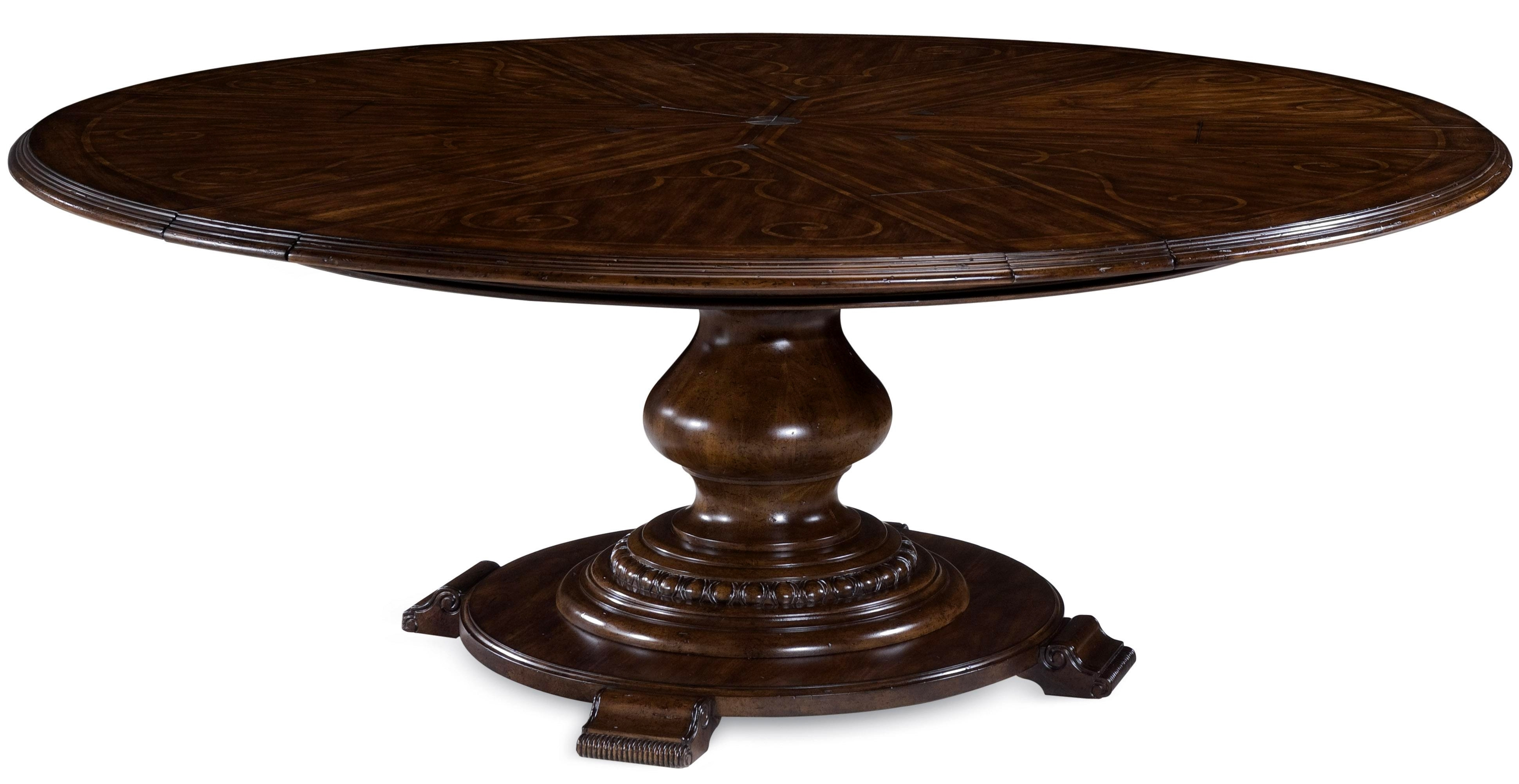 Rounded Brown Reclaimed Wood Dining Table With Skirt And Open Shelf Pertaining To 2017 Jefferson Extension Round Dining Tables (Image 15 of 20)