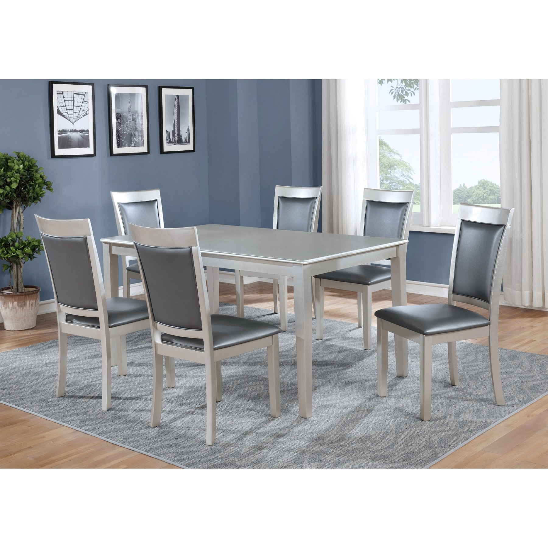 Roundhill Furniture Avignor 7 Piece Contemporary Dining Table Set In For 2018 Market 7 Piece Counter Sets (Image 19 of 20)