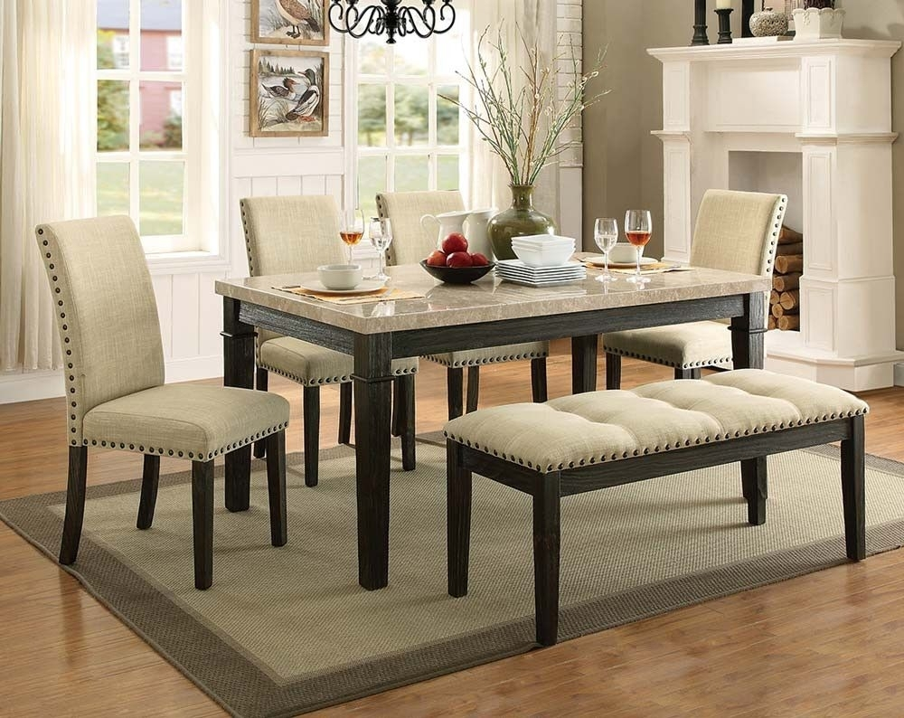 Rustic, Formal Dining Room Set | Greystone Marble 5 Piece Dining Set Throughout 2017 Caira Black 7 Piece Dining Sets With Upholstered Side Chairs (Image 15 of 20)