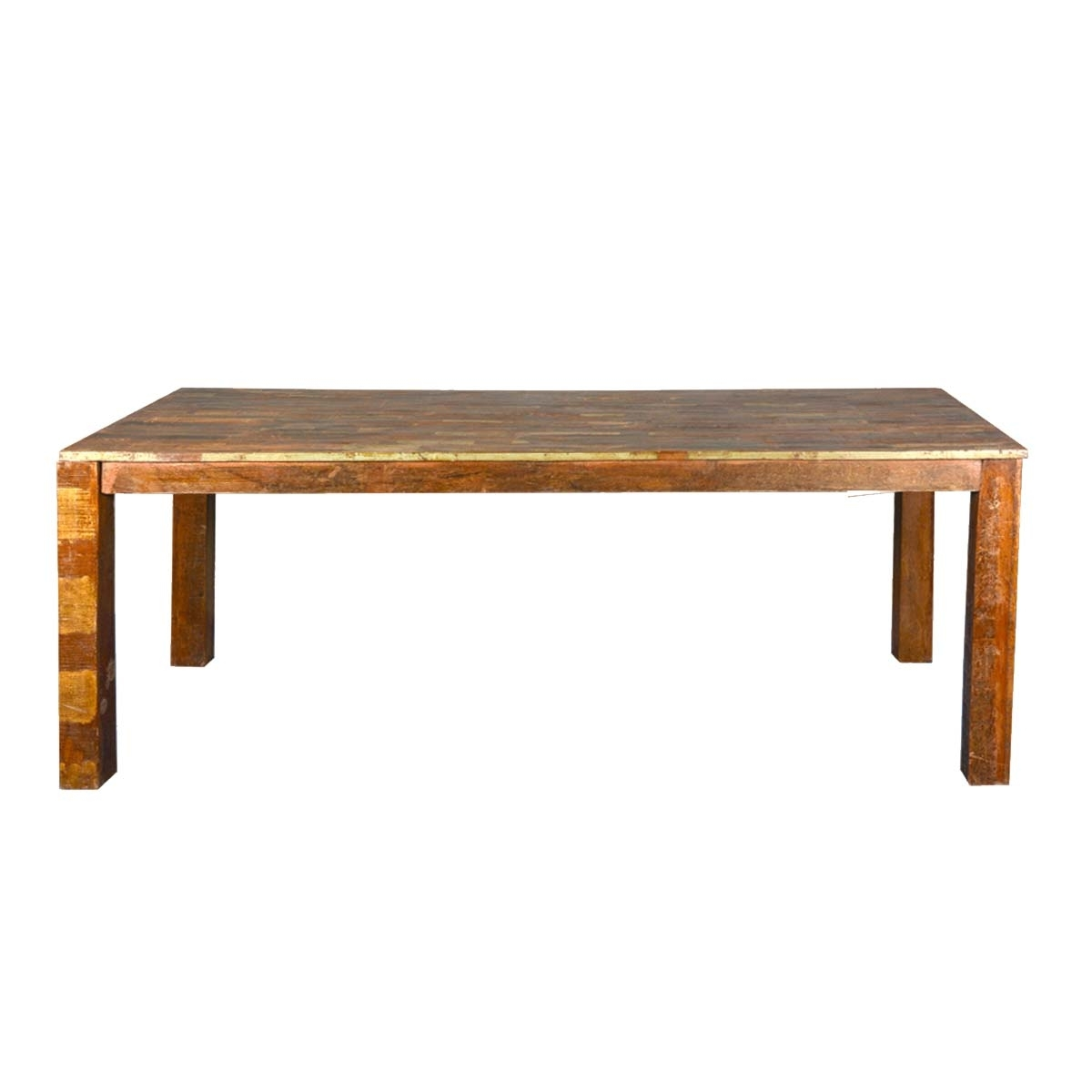 Rustic Parquet Top Reclaimed Wood Dining Table In Newest Parquet Dining Tables (Image 18 of 20)