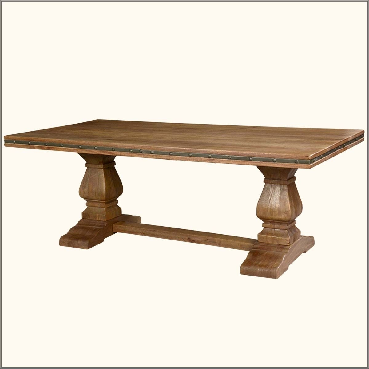 Rustic Solid Wood Trestle Pedestal Base Harvest Dining Table | Table Regarding Current Natural Wood & Recycled Elm 87 Inch Dining Tables (View 8 of 20)
