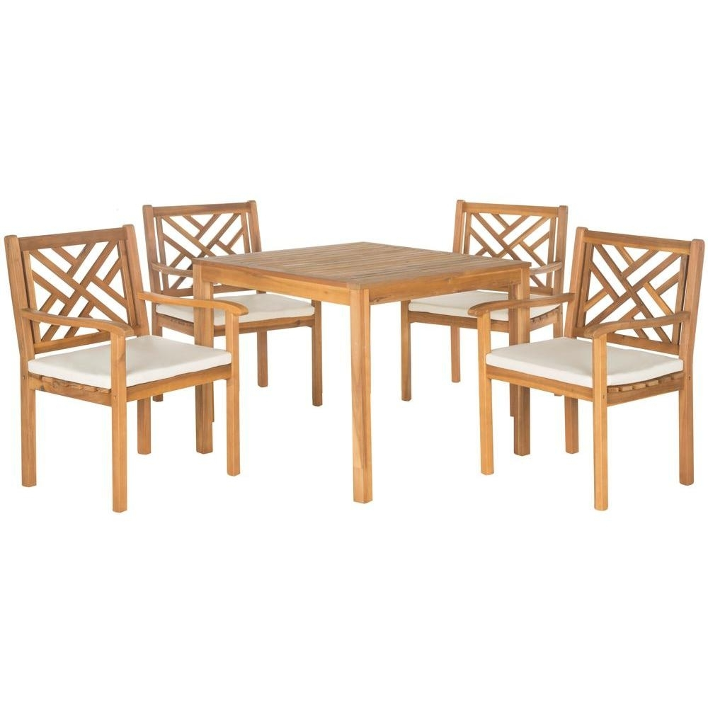 Safavieh Bradbury Teak Brown 5 Piece Patio Dining Set With Beige Cushions With 2017 Outdoor Brasilia Teak High Dining Tables (View 10 of 20)