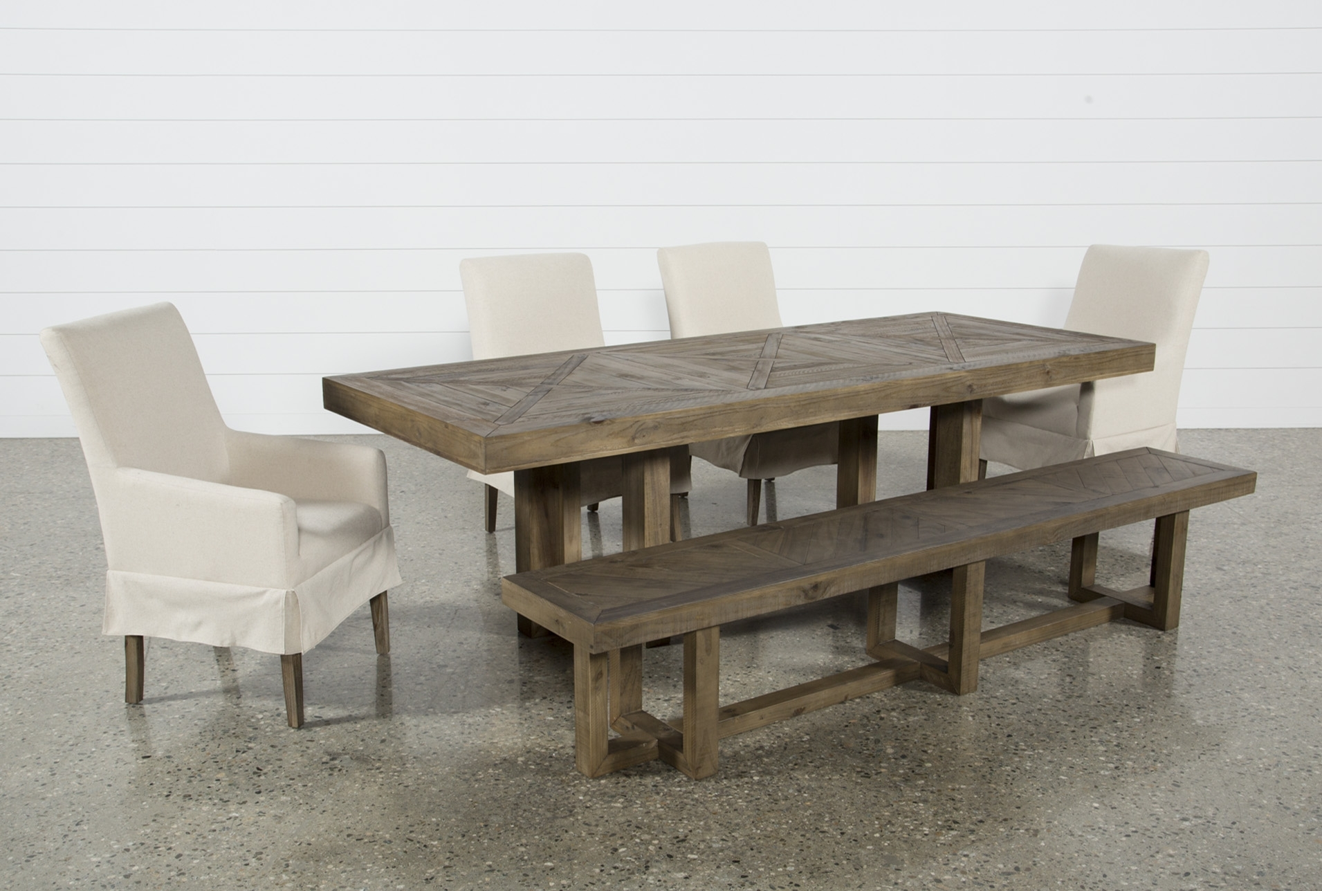 Safavieh Jovanna White/oak Acacia Wood 2 Seat Patio Bench Throughout Latest Palazzo 6 Piece Dining Set With Mindy Slipcovered Side Chairs (Image 20 of 20)