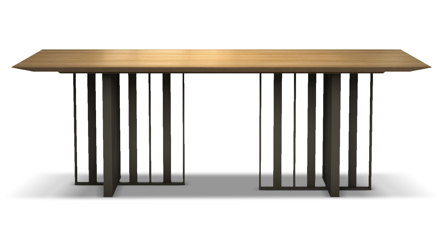 Saida 87 Inch Wood And Aluminum Dining Table, Natural Oak On Bronze Within Current 87 Inch Dining Tables (View 8 of 20)