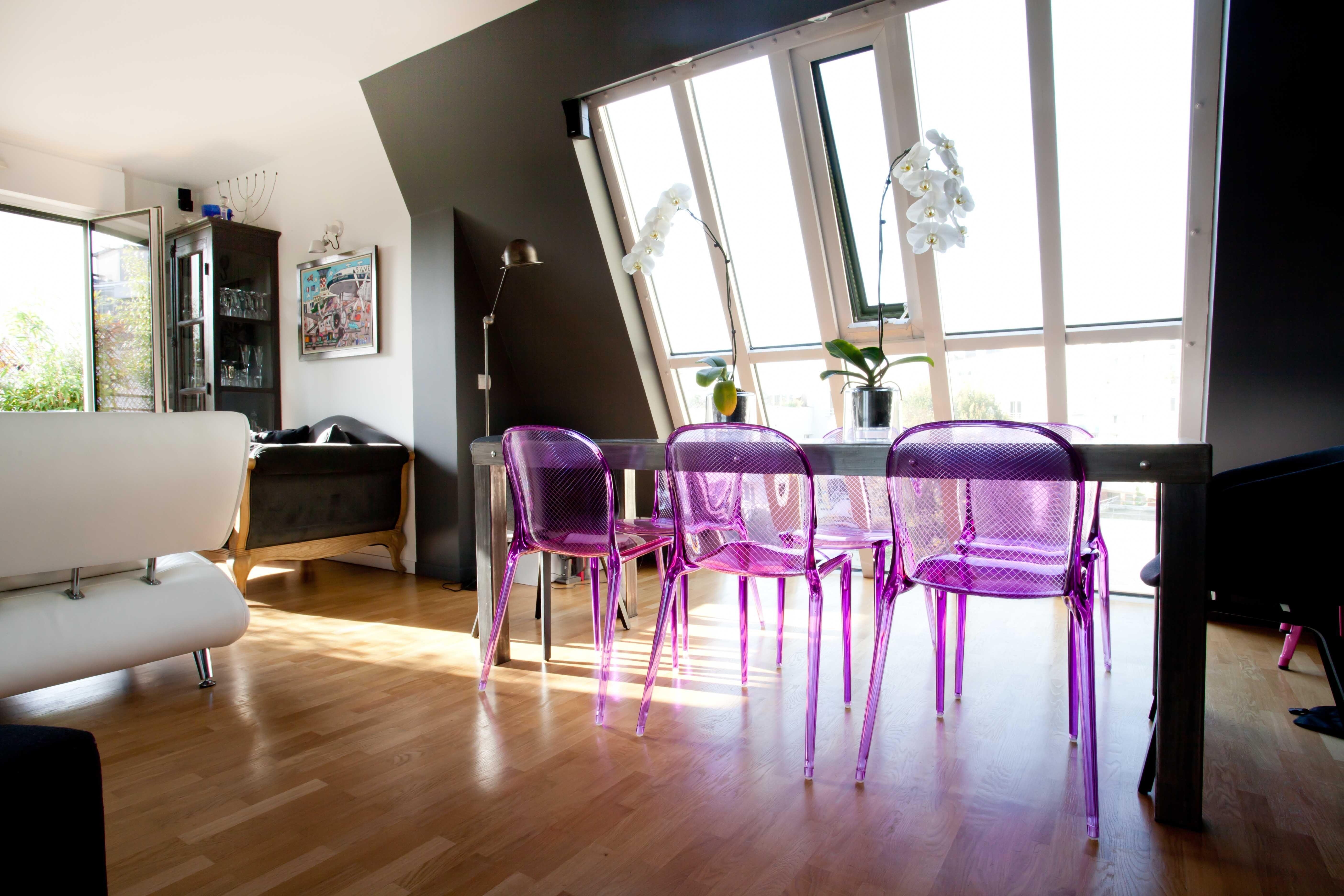 Salle À Manger Sous Verrière : Table De Repas En Métal Réalisée Sur In Most Recent Bale 7 Piece Dining Sets With Dom Side Chairs (View 10 of 20)