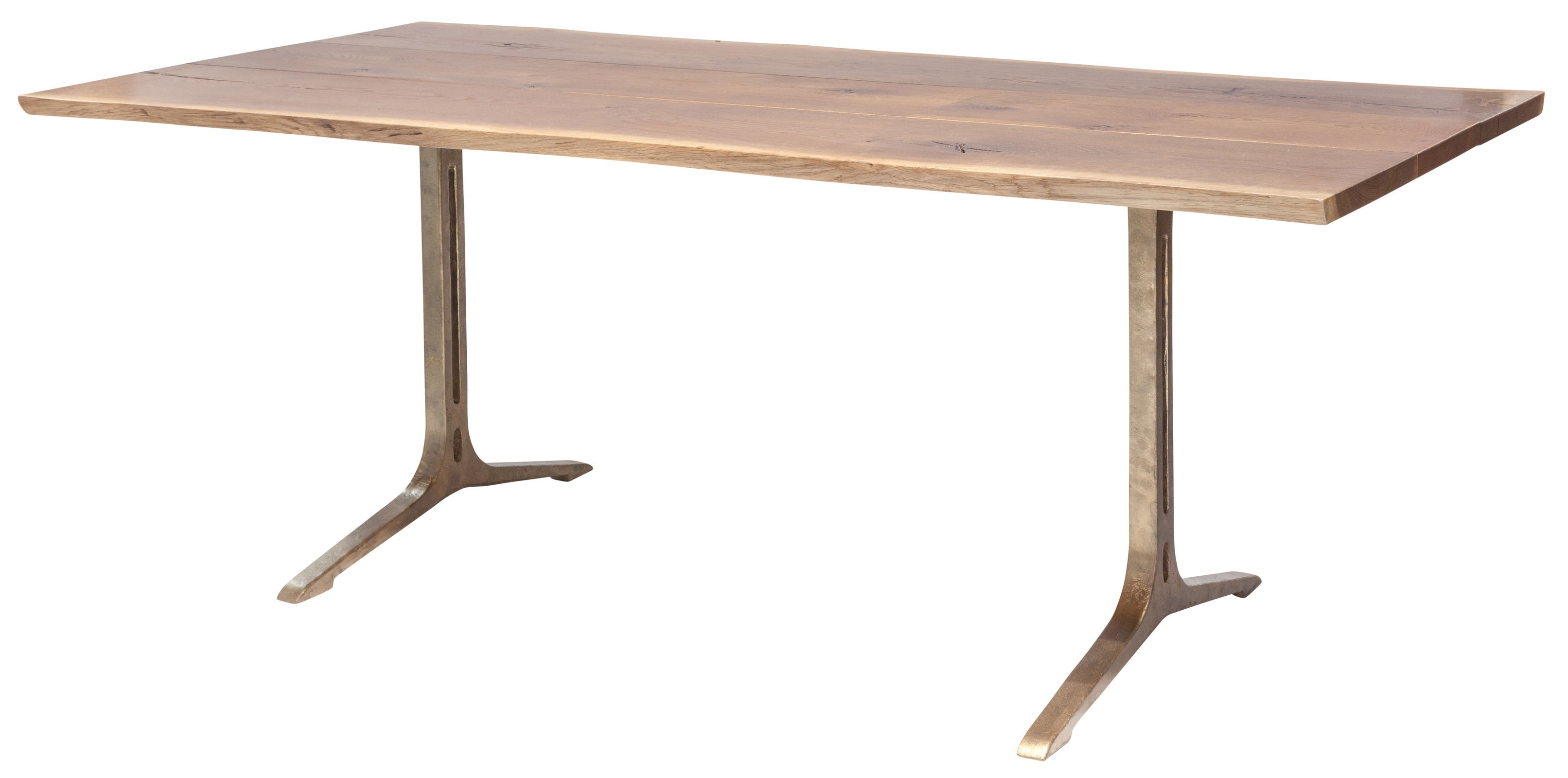 Samara 78 Inch Dining Table In Smoked Oak And Bronze Cast Iron Legs Regarding Latest Portland 78 Inch Dining Tables (Image 16 of 20)
