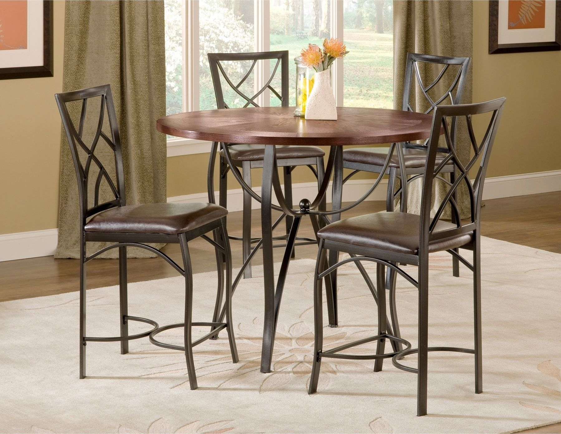 Sanford Merlot 5 Piece Counter Height Table And 4 Chairs Black Metal Pertaining To 2018 Craftsman 9 Piece Extension Dining Sets With Uph Side Chairs (View 4 of 20)