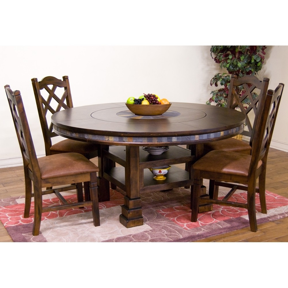 Santa Fe Wood Round Dining Table In Dark Chocolate | Humble Abode Throughout 2017 Leon Dining Tables (Image 18 of 20)