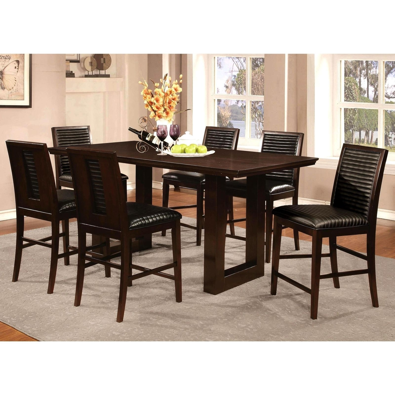 Sapire Channel Quilted Upholstered 7 Pc Counter Height Dining Set Within Most Popular Laurent 7 Piece Counter Sets With Upholstered Counterstools (View 5 of 20)