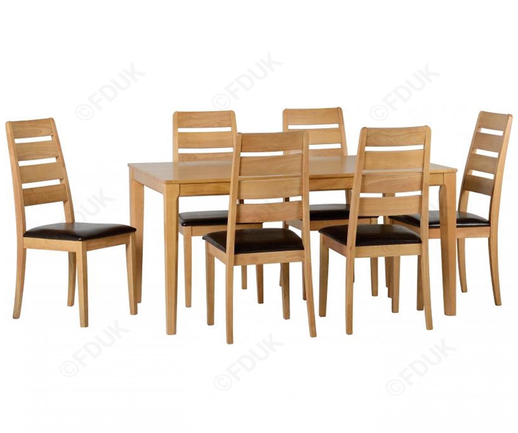Seconique | Logan Oak Varnish Large Dining Set With 6 Chairs For Most Popular Logan 6 Piece Dining Sets (Image 14 of 20)