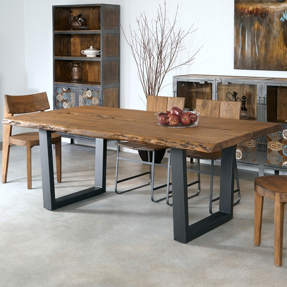 Sequoia Wood & Iron Dining Table In Light Brown | Humble Abode Within Most Current Mango Wood/iron Dining Tables (Image 18 of 20)
