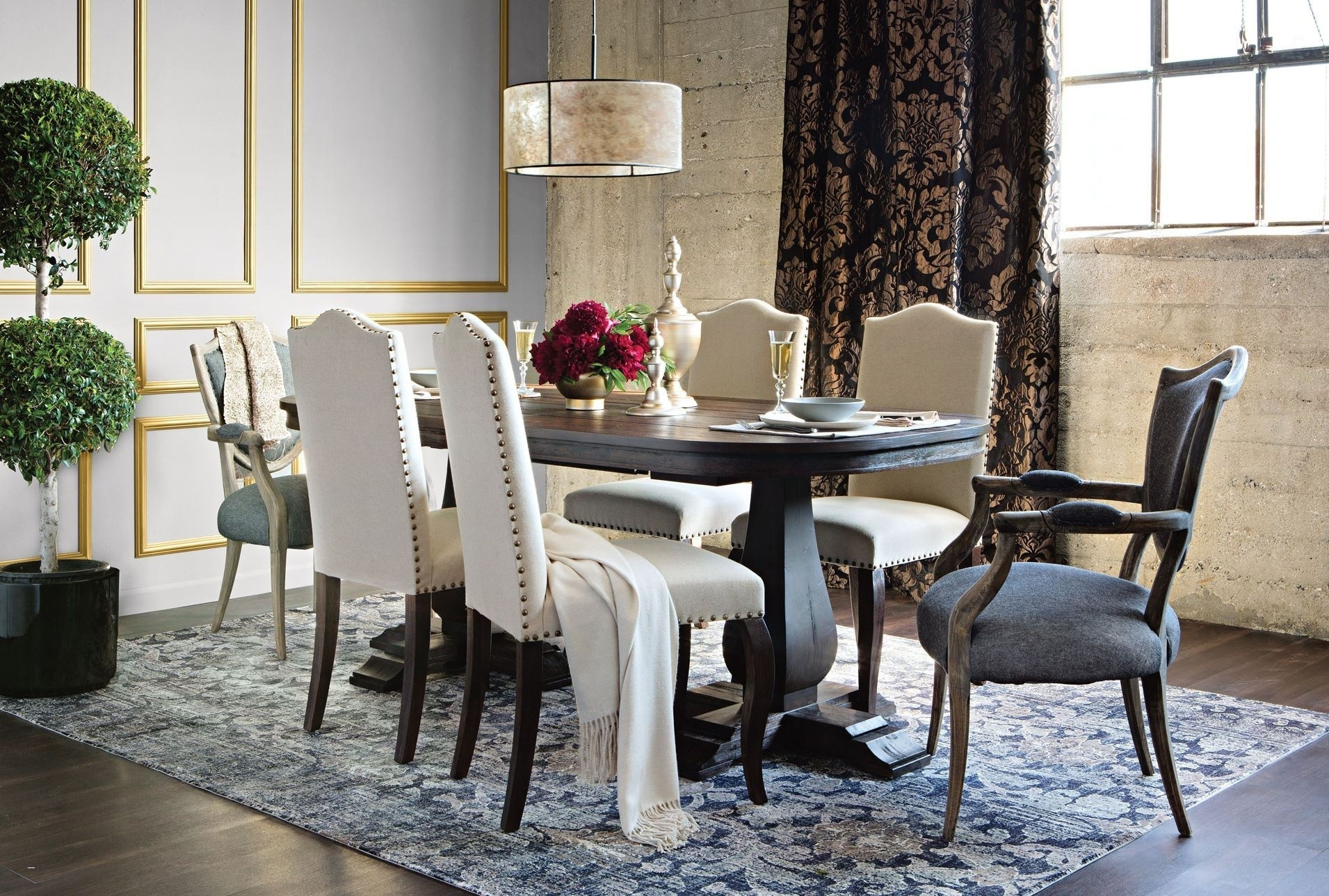 Shapely Living Spaces Table Set Diego Upholstered Side Chair Living Regarding Most Current Combs Extension Dining Tables (Image 16 of 20)