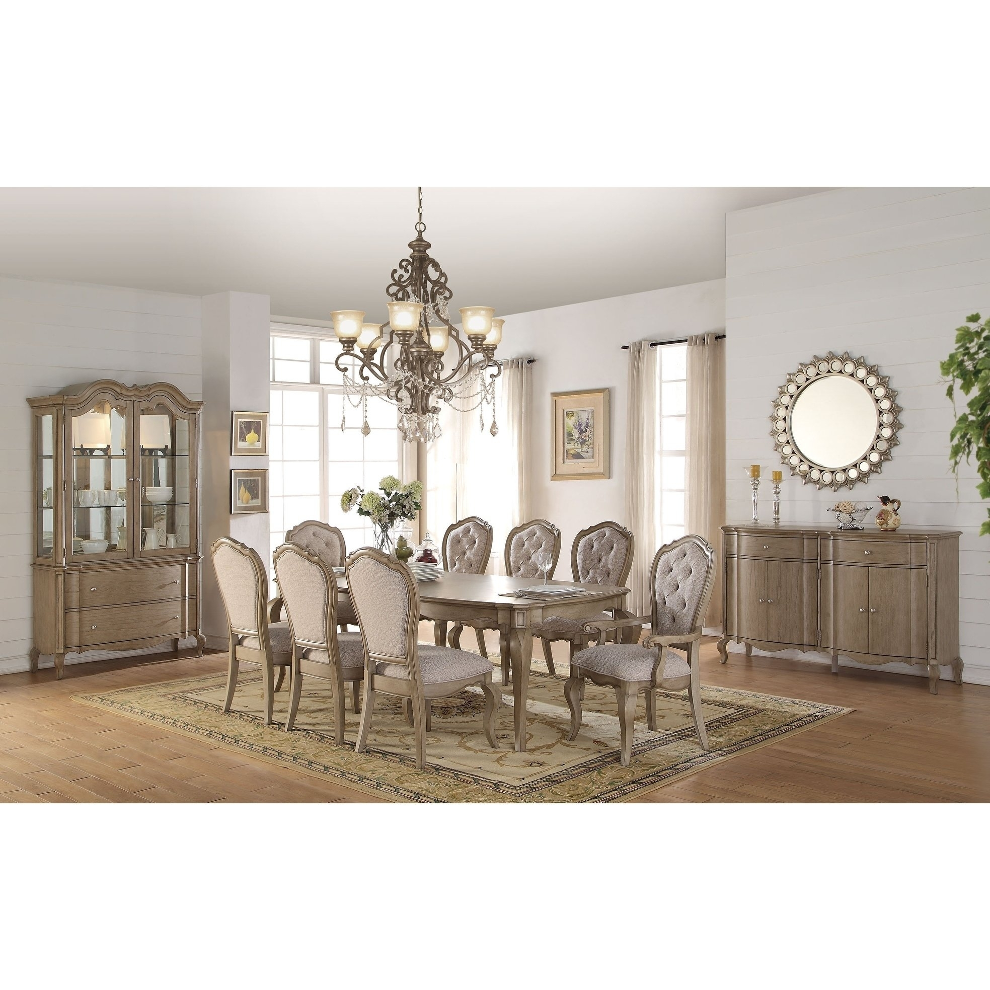 Shop Acme Chelmsford Dining Table, Antique Taupe – Free Shipping Inside Most Recently Released Helms 7 Piece Rectangle Dining Sets With Side Chairs (Image 12 of 20)