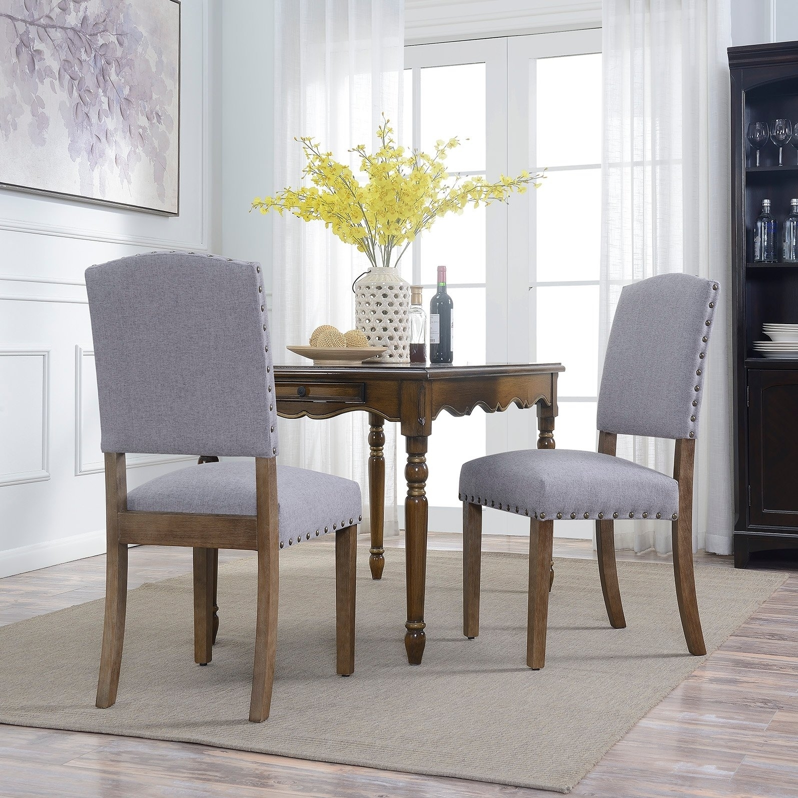 Shop Belleze Contemporary Classic Dining Chair Set Of (2) Linen With Most Recently Released Caira Black 7 Piece Dining Sets With Upholstered Side Chairs (Image 16 of 20)
