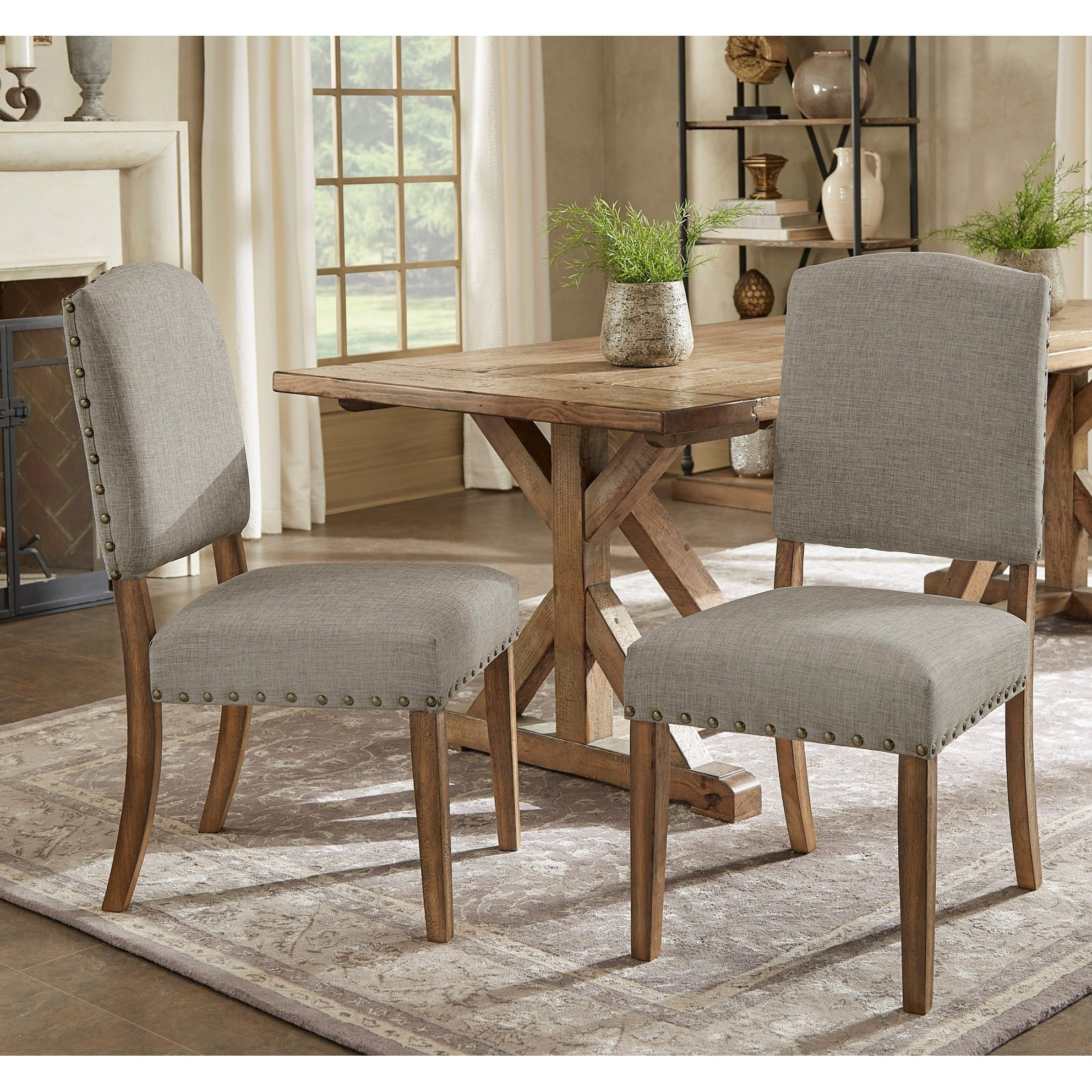 Shop Benchwright Premium Nailhead Upholstered Dining Chairs (Set Of Inside Most Up To Date Candice Ii 5 Piece Round Dining Sets With Slat Back Side Chairs (Image 16 of 20)