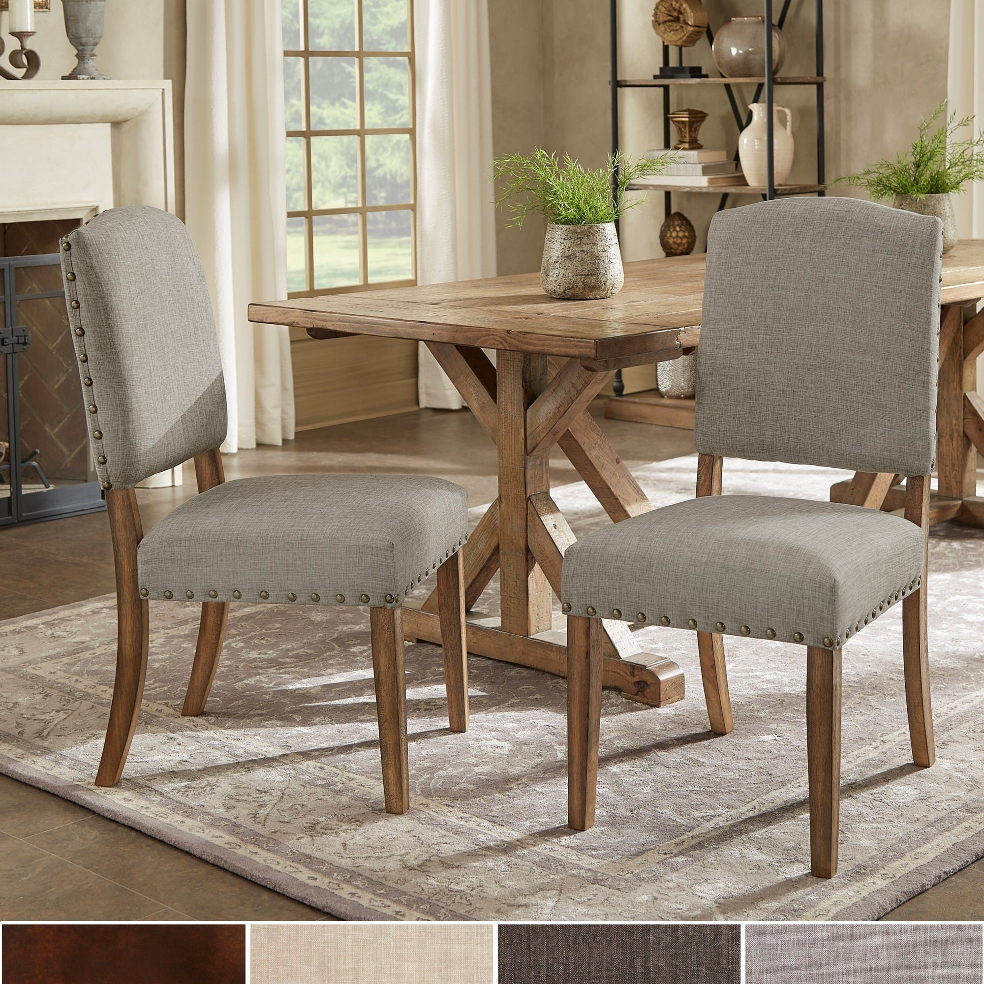 Shop Benchwright Premium Nailhead Upholstered Dining Chairs (Set Of Within 2017 Candice Ii 5 Piece Round Dining Sets (Image 15 of 20)