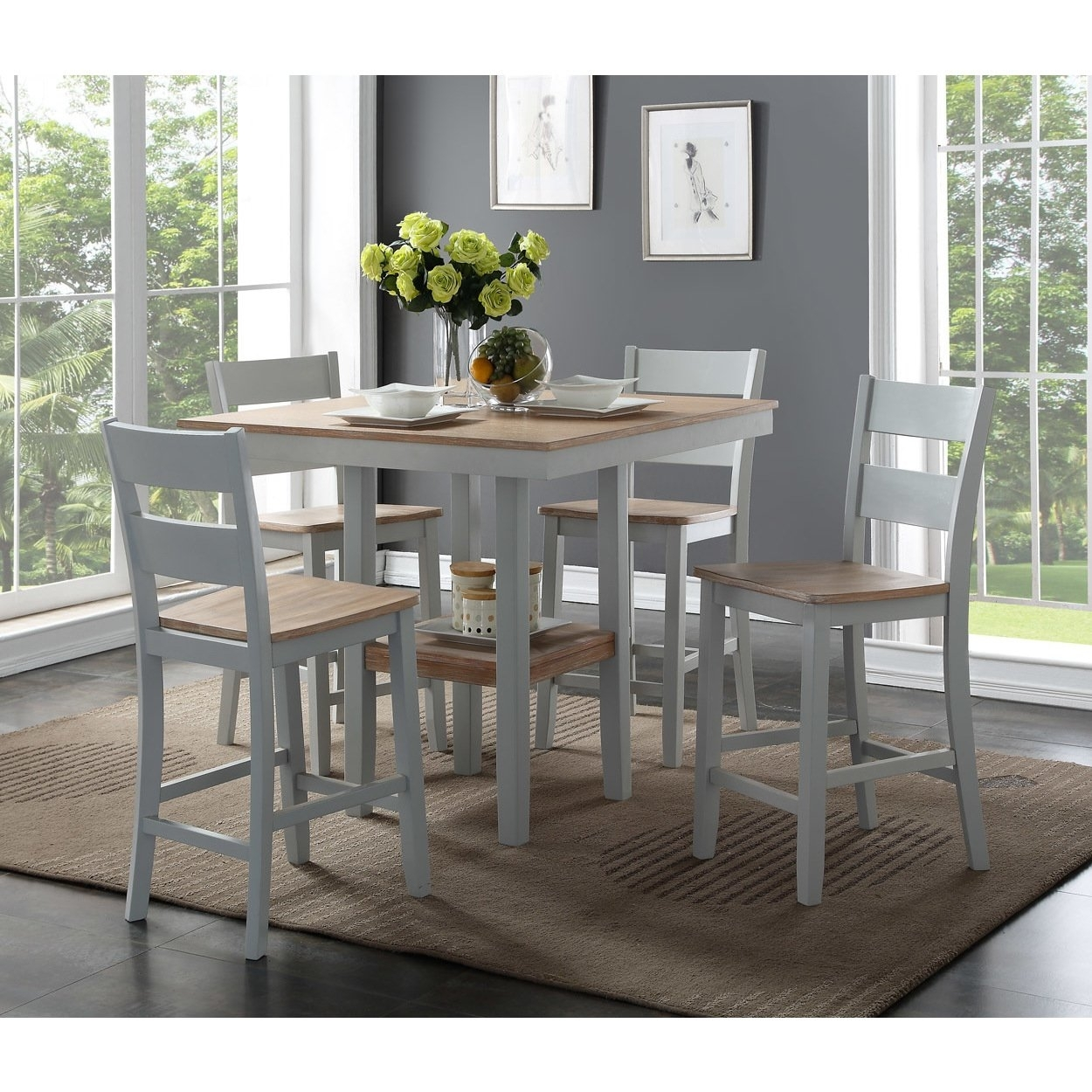 Shop Bernards York Counter 5 Piece Dining Set – Free Shipping Today Regarding Most Recently Released Harper 5 Piece Counter Sets (View 10 of 20)