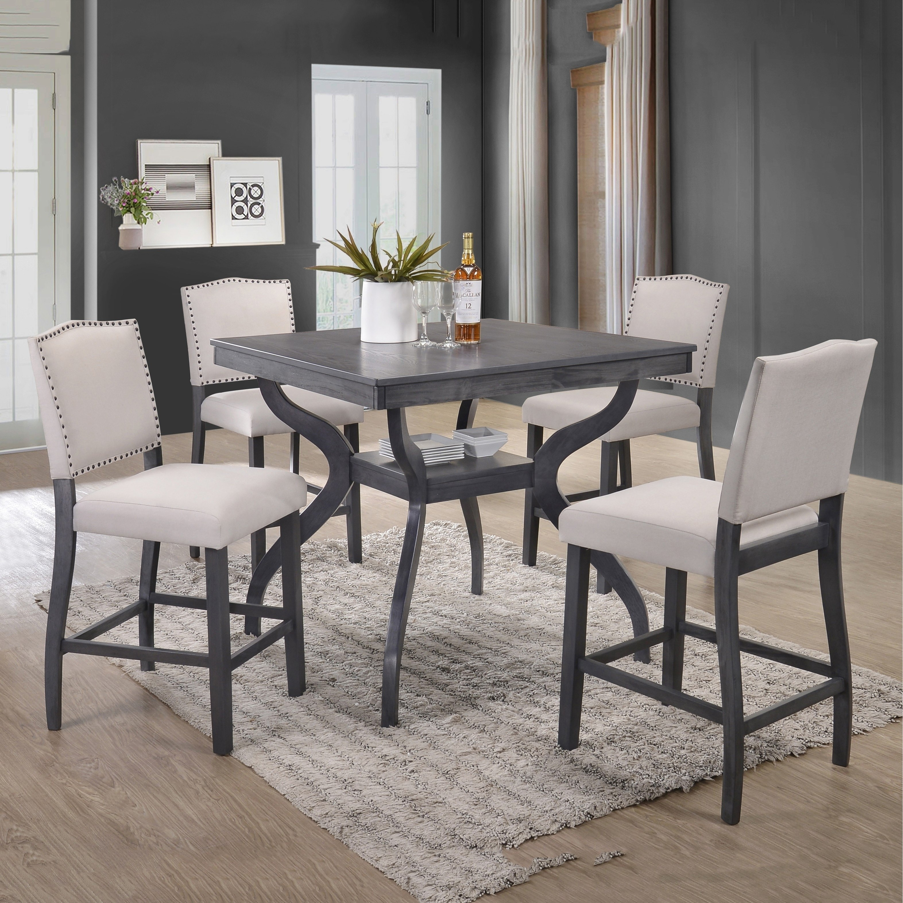 Shop Best Quality Furniture 5 Piece Contemporary Dining Set, Light Regarding Latest Jaxon 5 Piece Round Dining Sets With Upholstered Chairs (View 12 of 20)