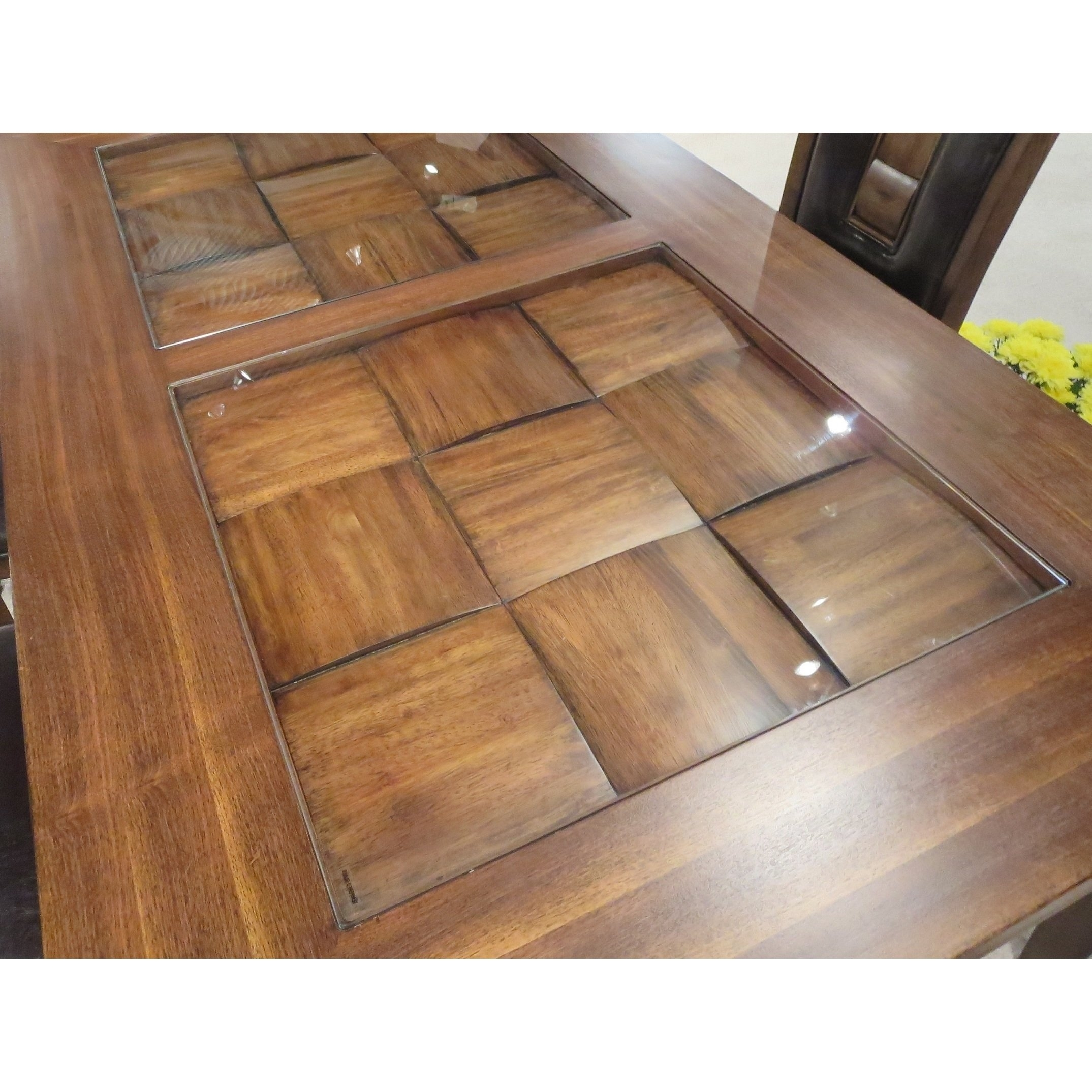 Shop Calais 7 Piece Parquet Finish Solid Wood Dining Table With 6 Inside Most Current Parquet 6 Piece Dining Sets (Image 15 of 20)