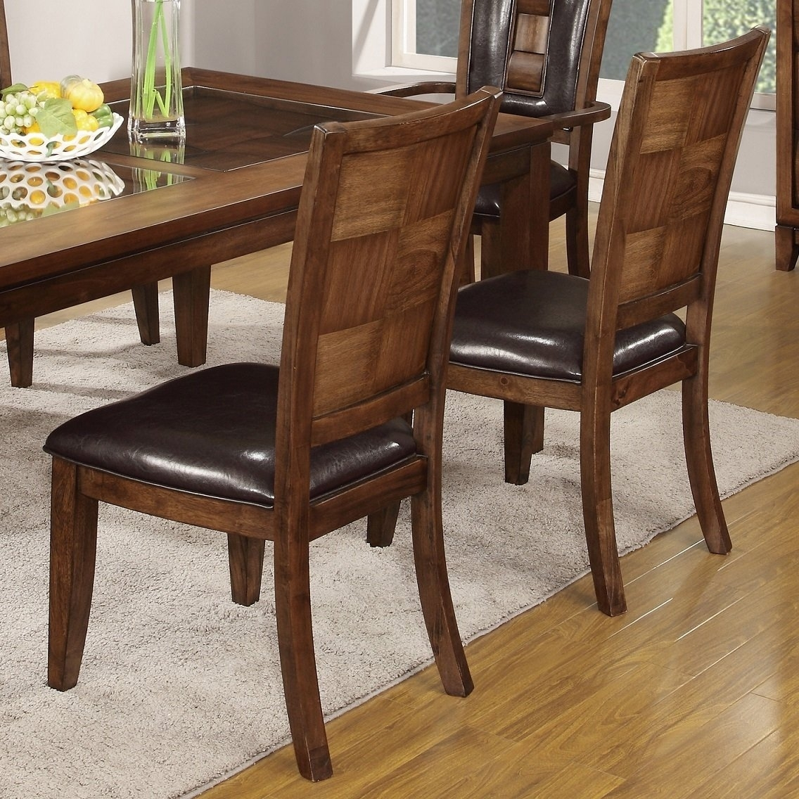 Shop Calais 7 Piece Parquet Finish Solid Wood Dining Table With 6 Intended For Most Recent Parquet 6 Piece Dining Sets (Image 16 of 20)