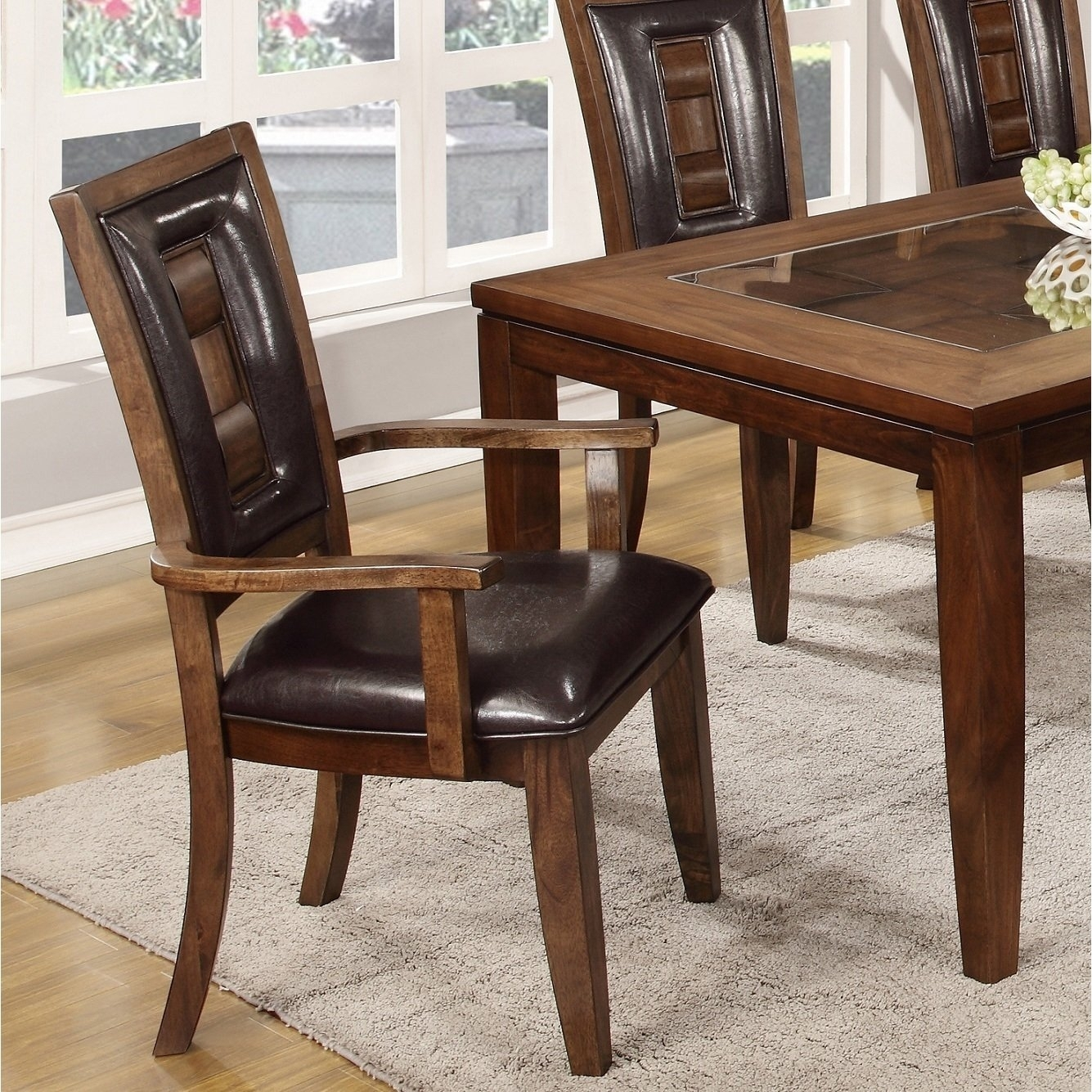 Shop Calais 7 Piece Parquet Finish Solid Wood Dining Table With 6 Intended For Newest Parquet 7 Piece Dining Sets (View 4 of 20)