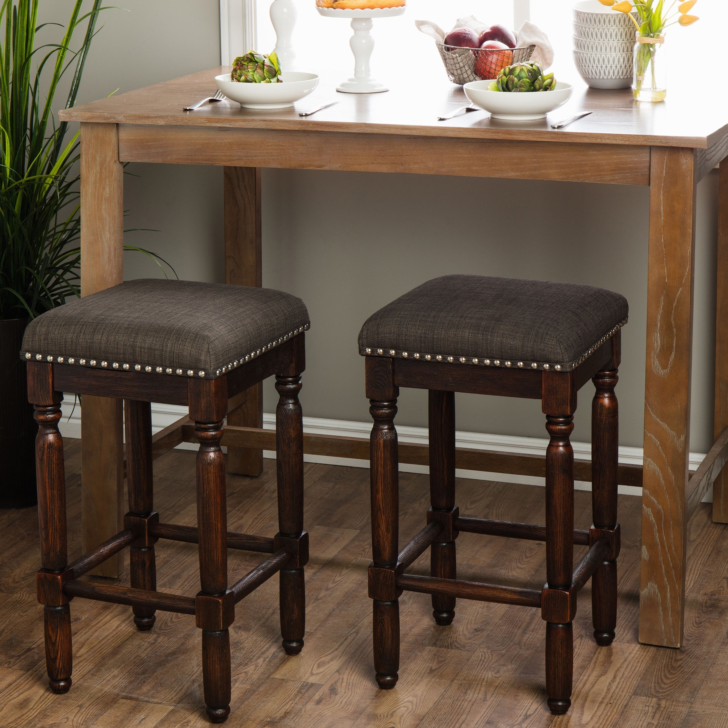 Shop Carbon Loft Branson Coffee Counter Stools (Set Of 2) – Free For Recent Laurent 7 Piece Counter Sets With Upholstered Counterstools (View 16 of 20)