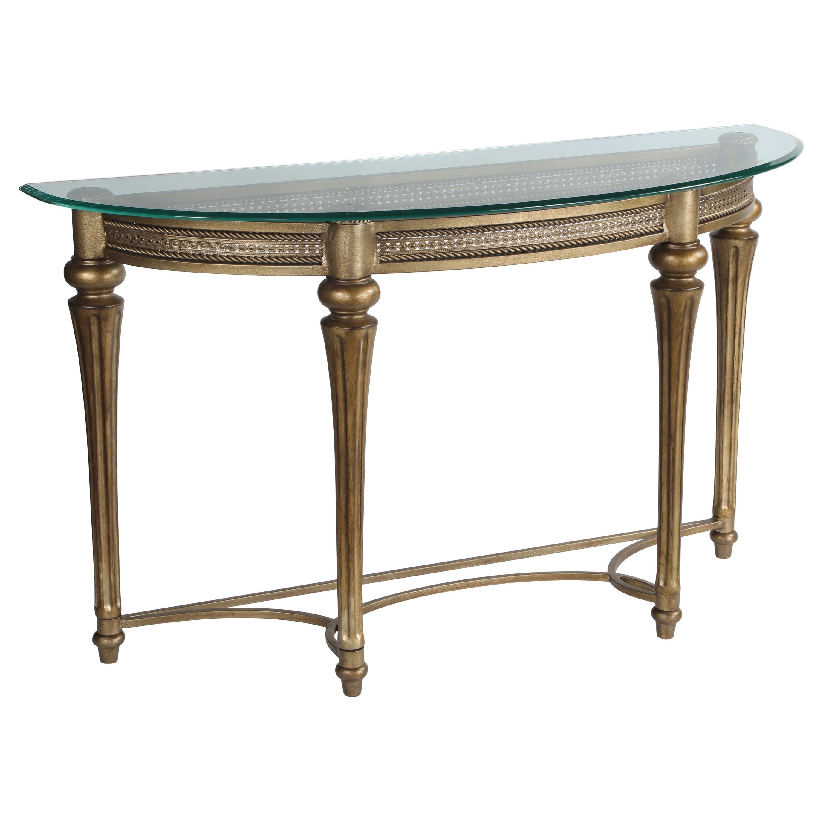 Shop Carbon Loft Carlson Traditional Wrought Iron Glass Top Demilune In Most Recently Released Ina Pewter 60 Inch Counter Tables With Frosted Glass (View 8 of 20)