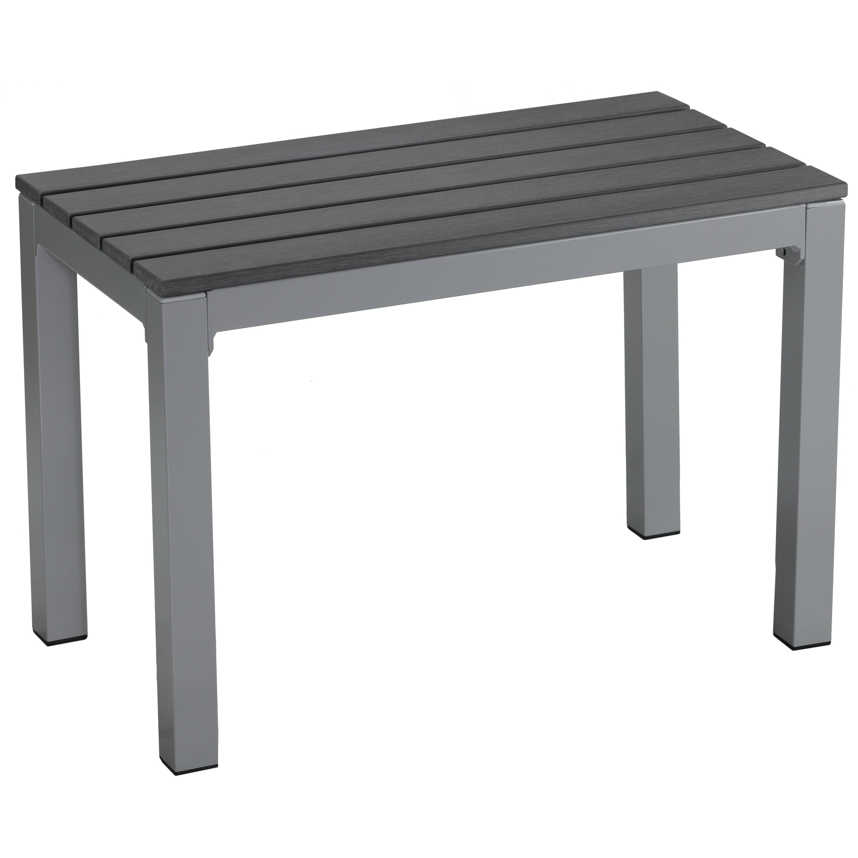 Shop Carbon Loft Linde Poly Resin Silver/slate Grey Aluminum Outdoor Pertaining To Recent Jaxon Grey 7 Piece Rectangle Extension Dining Sets With Wood Chairs (Image 14 of 20)