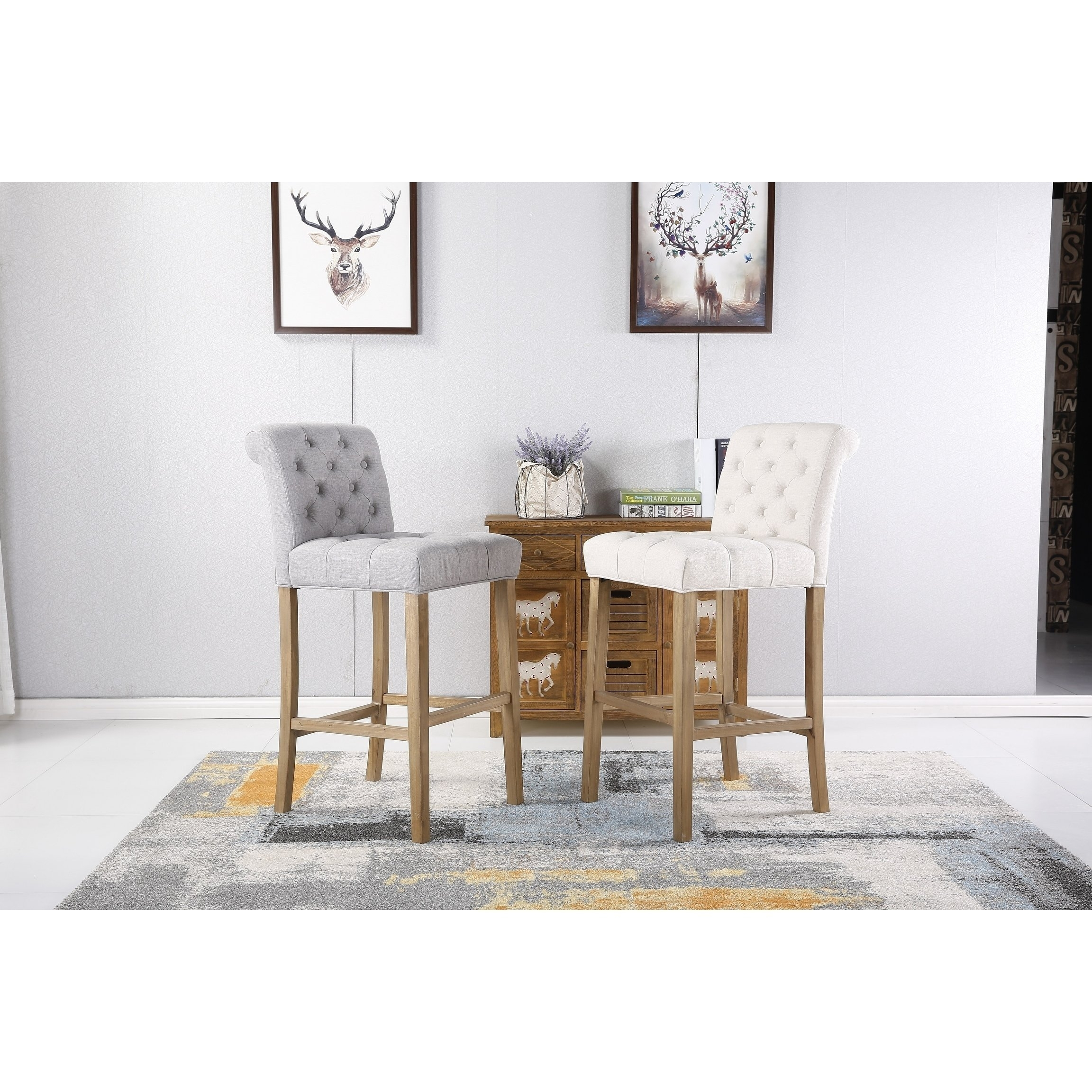Shop Carlisle Bar Height Button Tufted Solid Wood Bar Stools, Set Of Within 2018 Laurent 7 Piece Counter Sets With Upholstered Counterstools (View 6 of 20)