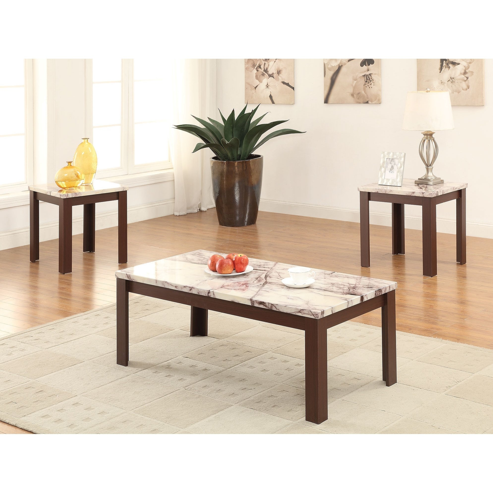 Shop Carly Cherry Faux Marble Veneer/mdf Coffee/end Table 3 Piece With 2018 Carly Rectangle Dining Tables (Image 18 of 20)