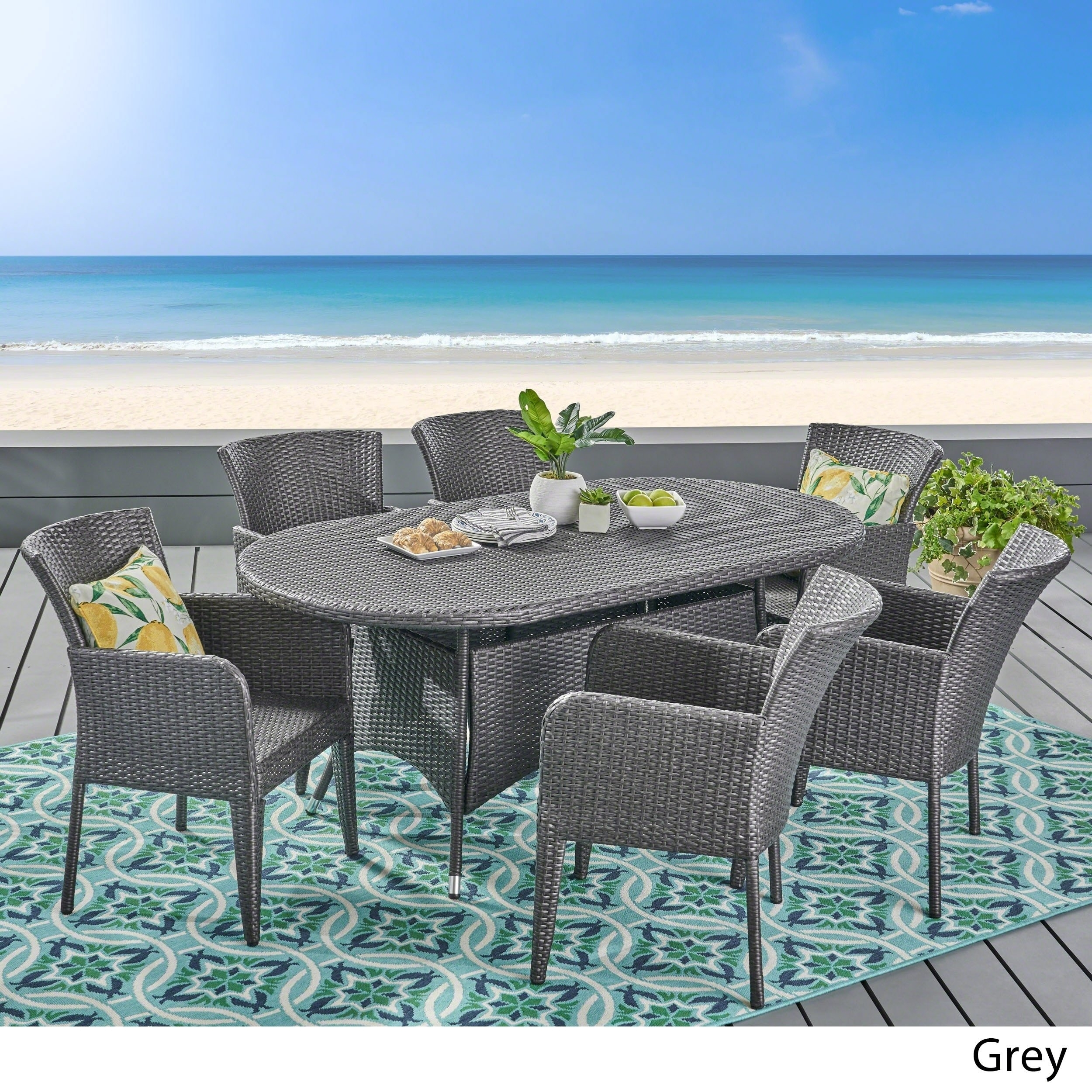 Shop Corsica Outdoor 7 Piece Wicker Dining Setchristopher Knight In 2018 Delfina 7 Piece Dining Sets (Image 17 of 20)