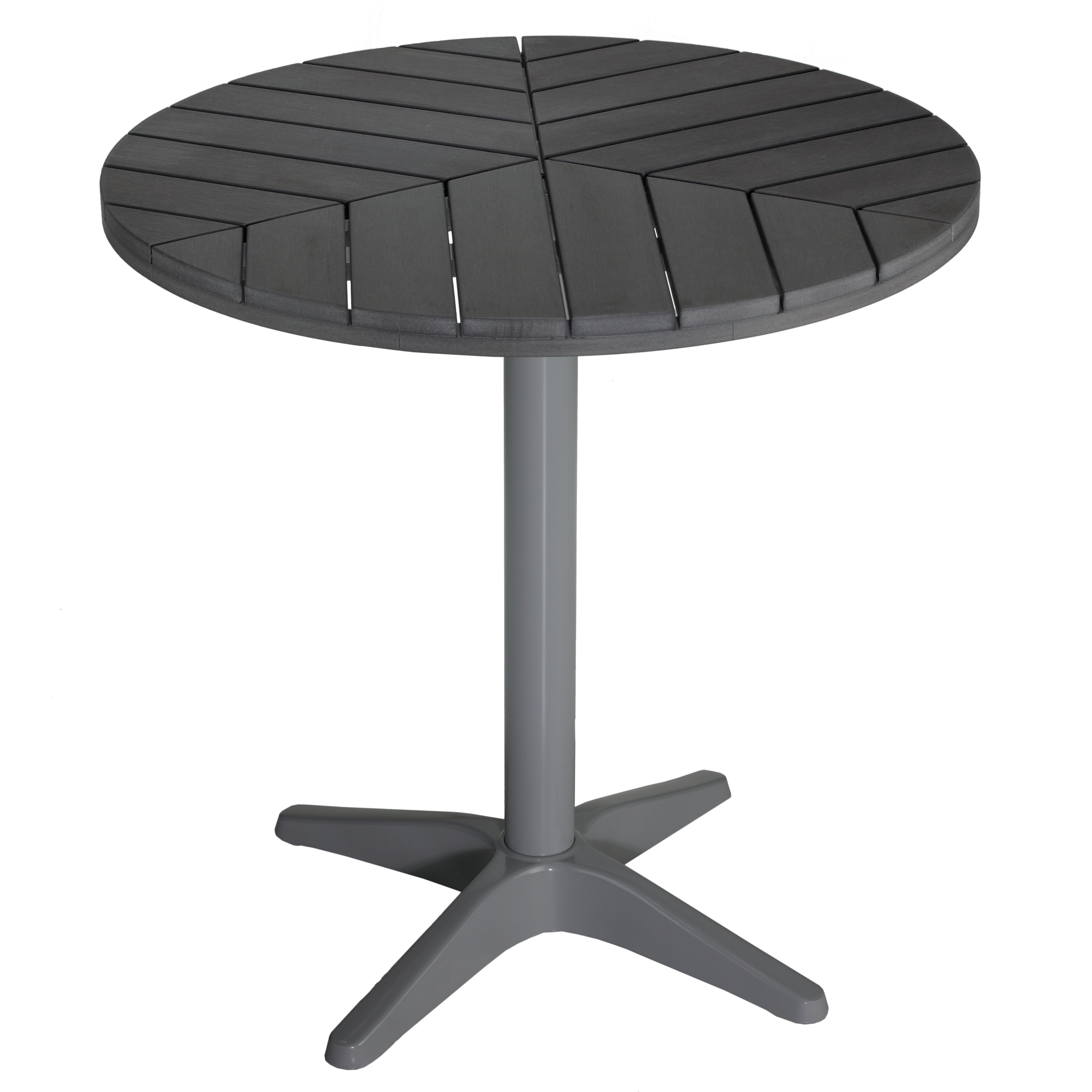 Shop Cortesi Home Jaxon Round Aluminum Outdoor Bistro Table In Poly With Regard To Current Jaxon Grey Rectangle Extension Dining Tables (Image 17 of 20)