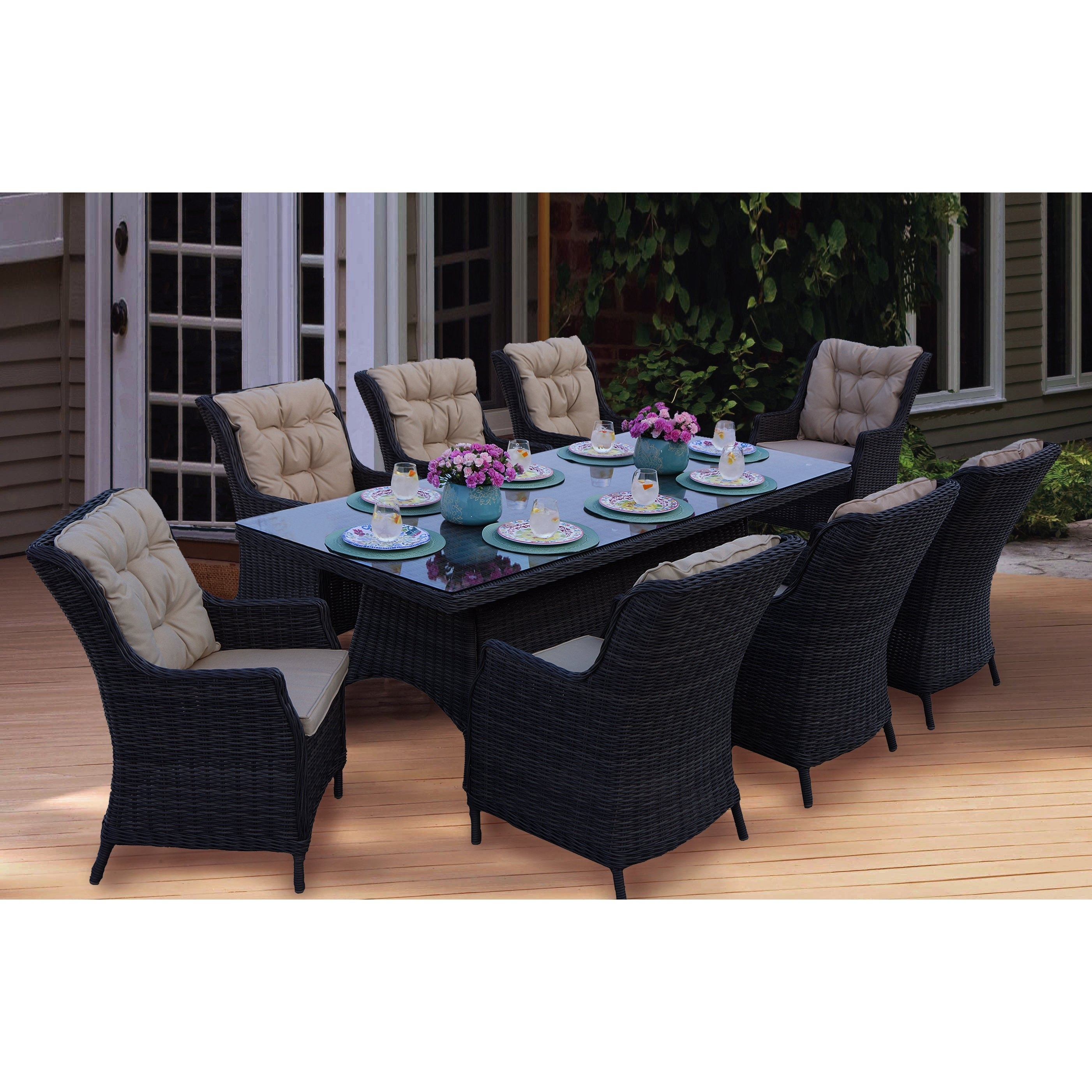 Shop Darlee Valencia Wicker Rectangular 9 Piece Dining Set (1 Table With Regard To 2017 Valencia 5 Piece 60 Inch Round Dining Sets (View 9 of 20)