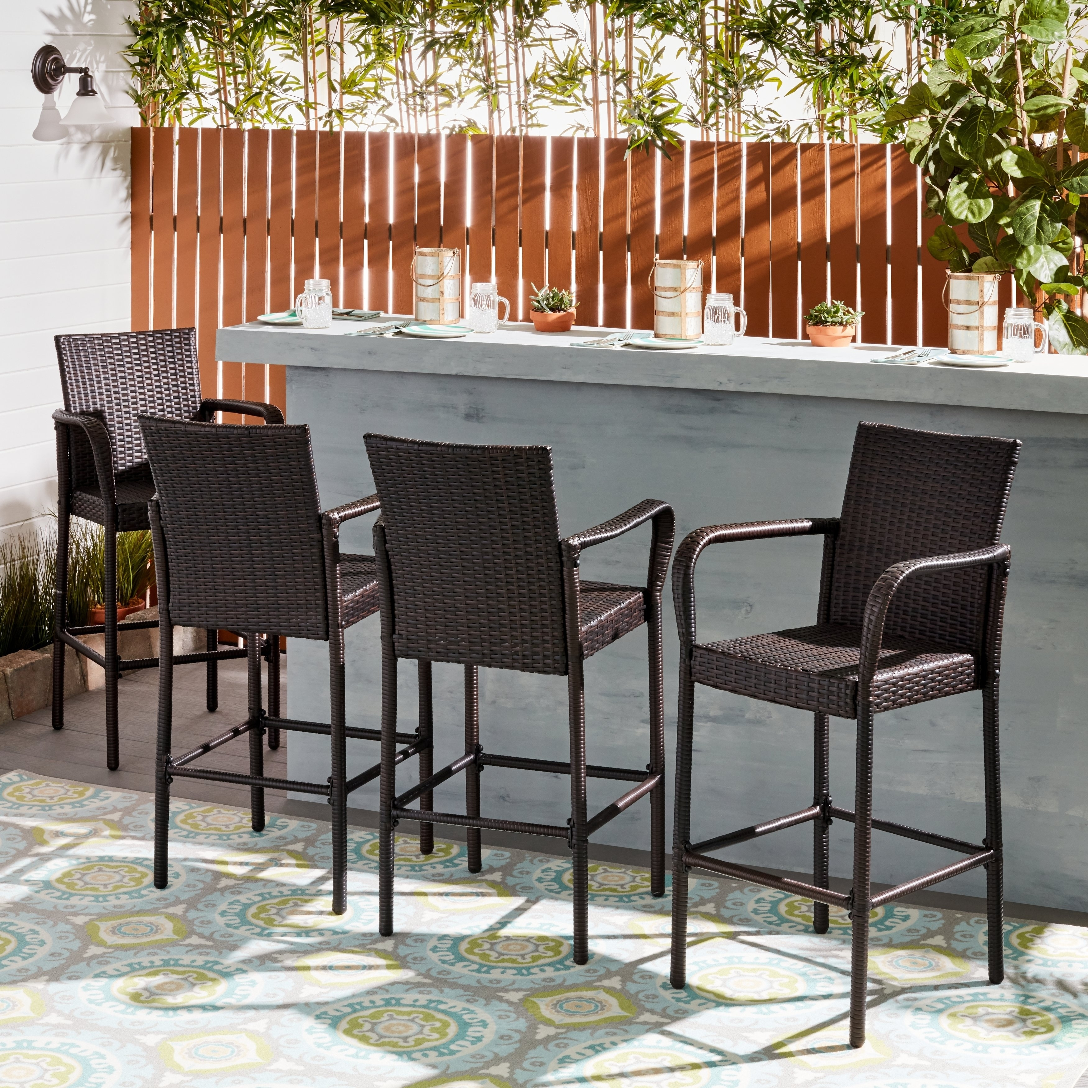 Shop Delfina Outdoor Wicker Barstool (Set Of 4)Christopher Pertaining To 2018 Delfina Dining Tables (Image 15 of 20)