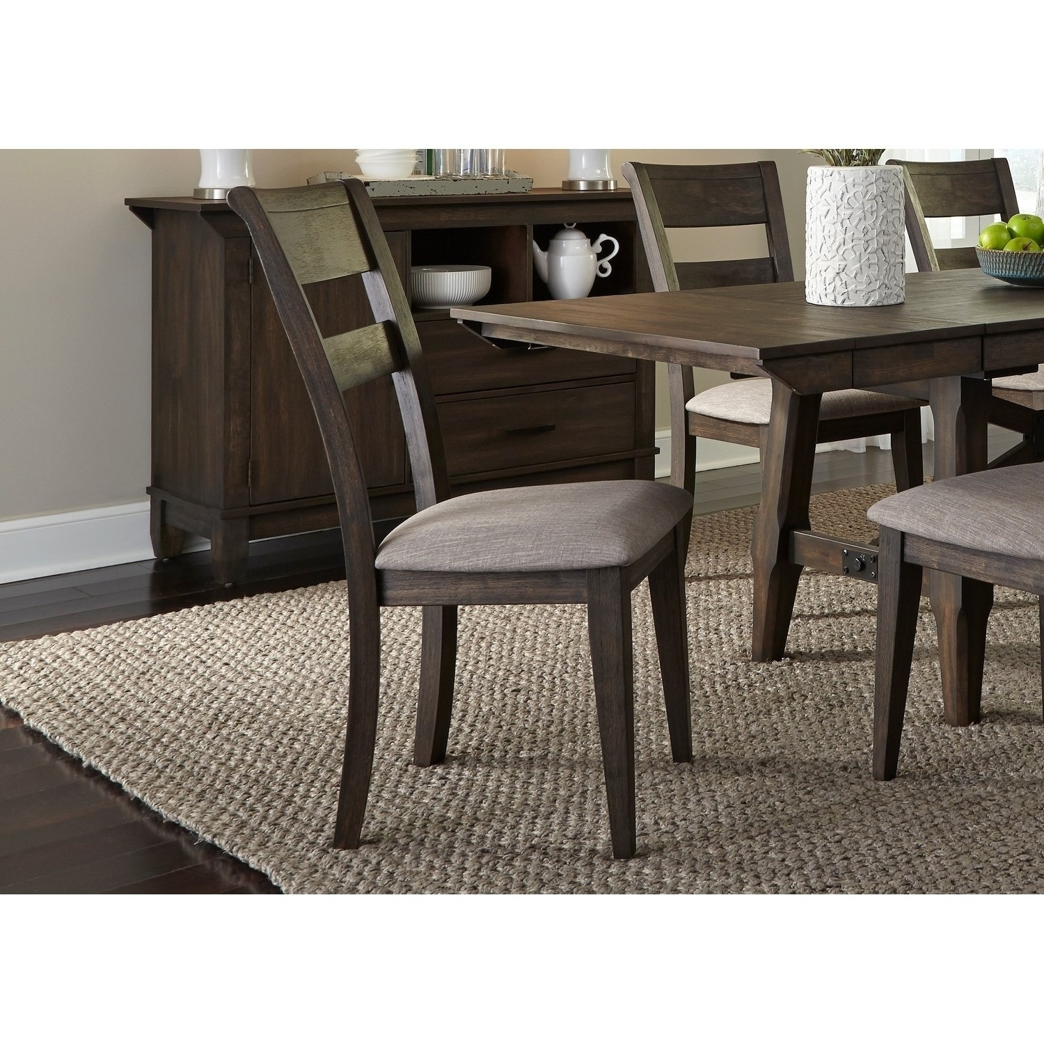 Shop Double Bridge Dark Chestnut Splat Back Side Chair – Free In Most Recently Released Caira Black 7 Piece Dining Sets With Upholstered Side Chairs (Image 18 of 20)