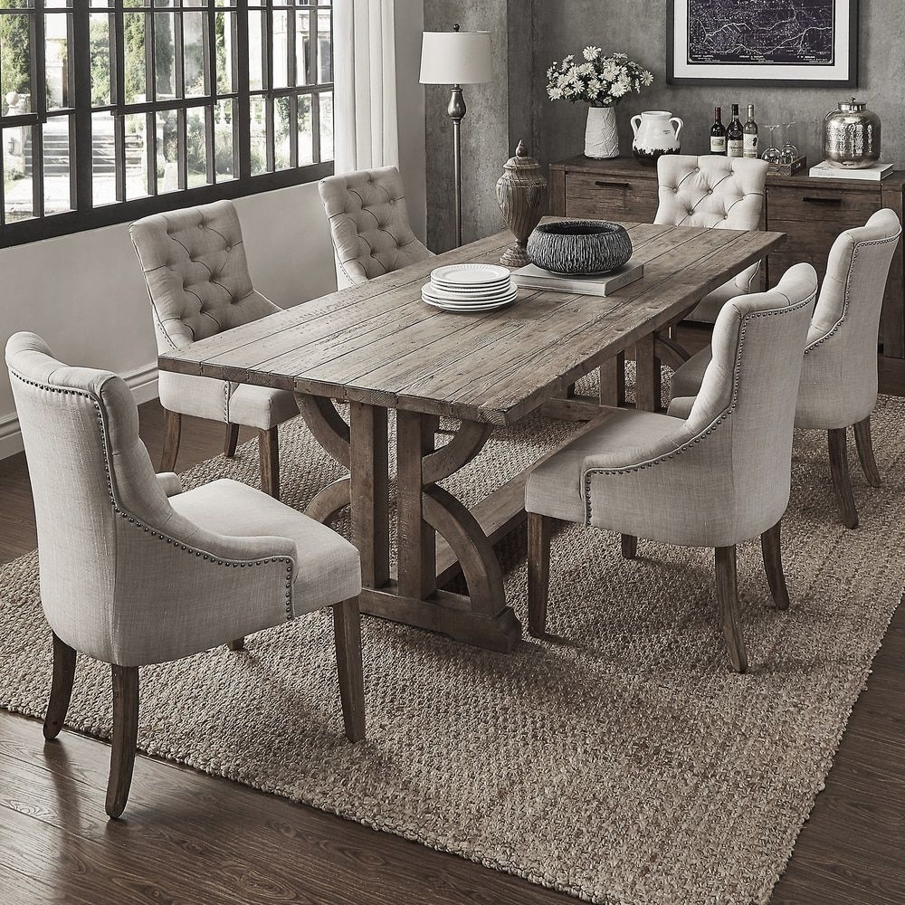 Shop For Voyager Wood And Zinc Balustrade 7 Piece Rectangl Throughout Most Recent Jaxon 7 Piece Rectangle Dining Sets With Upholstered Chairs (Image 15 of 20)
