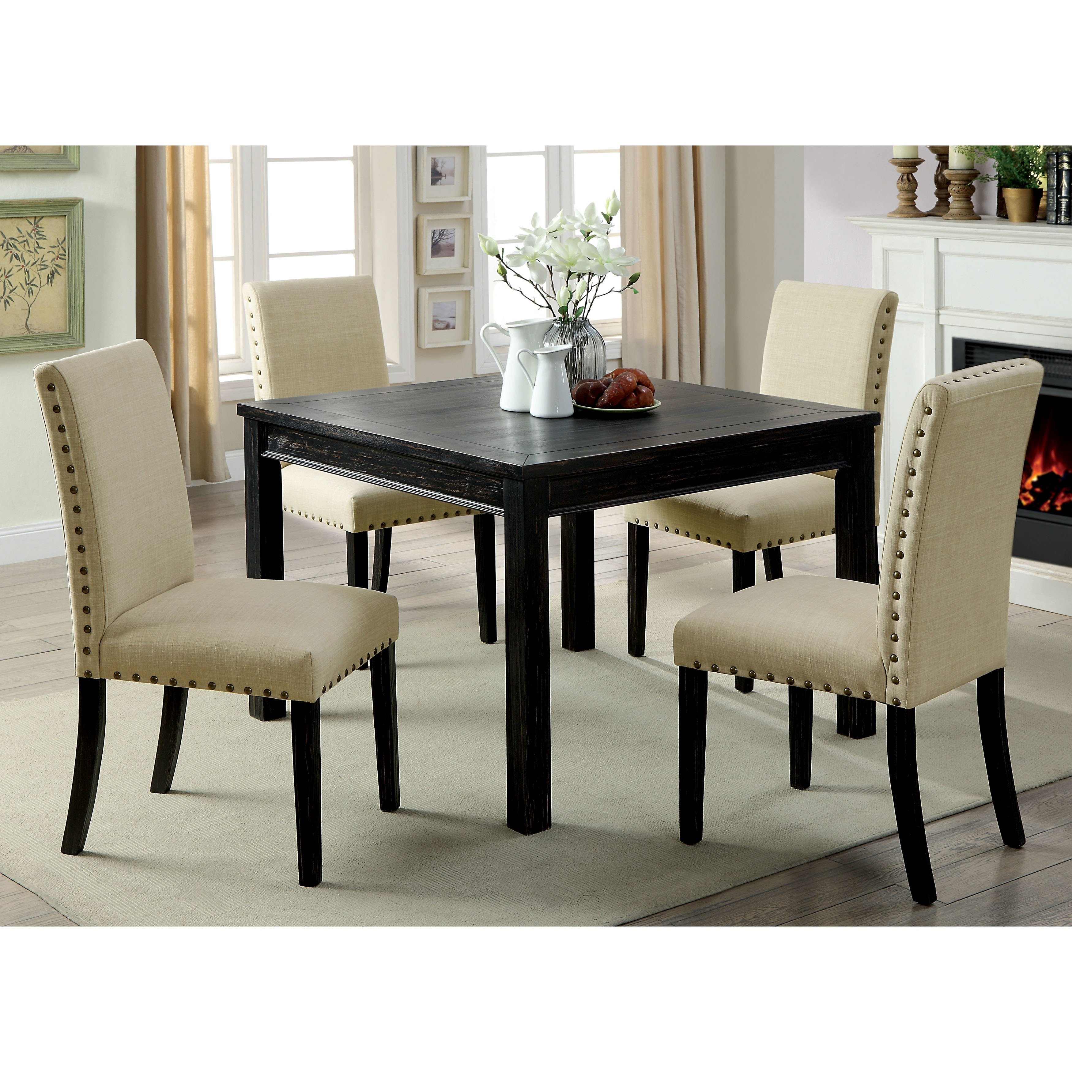 Shop Furniture Of America Delewarn Rustic 5 Piece Antique Black Within Newest Jaxon 5 Piece Round Dining Sets With Upholstered Chairs (View 20 of 20)