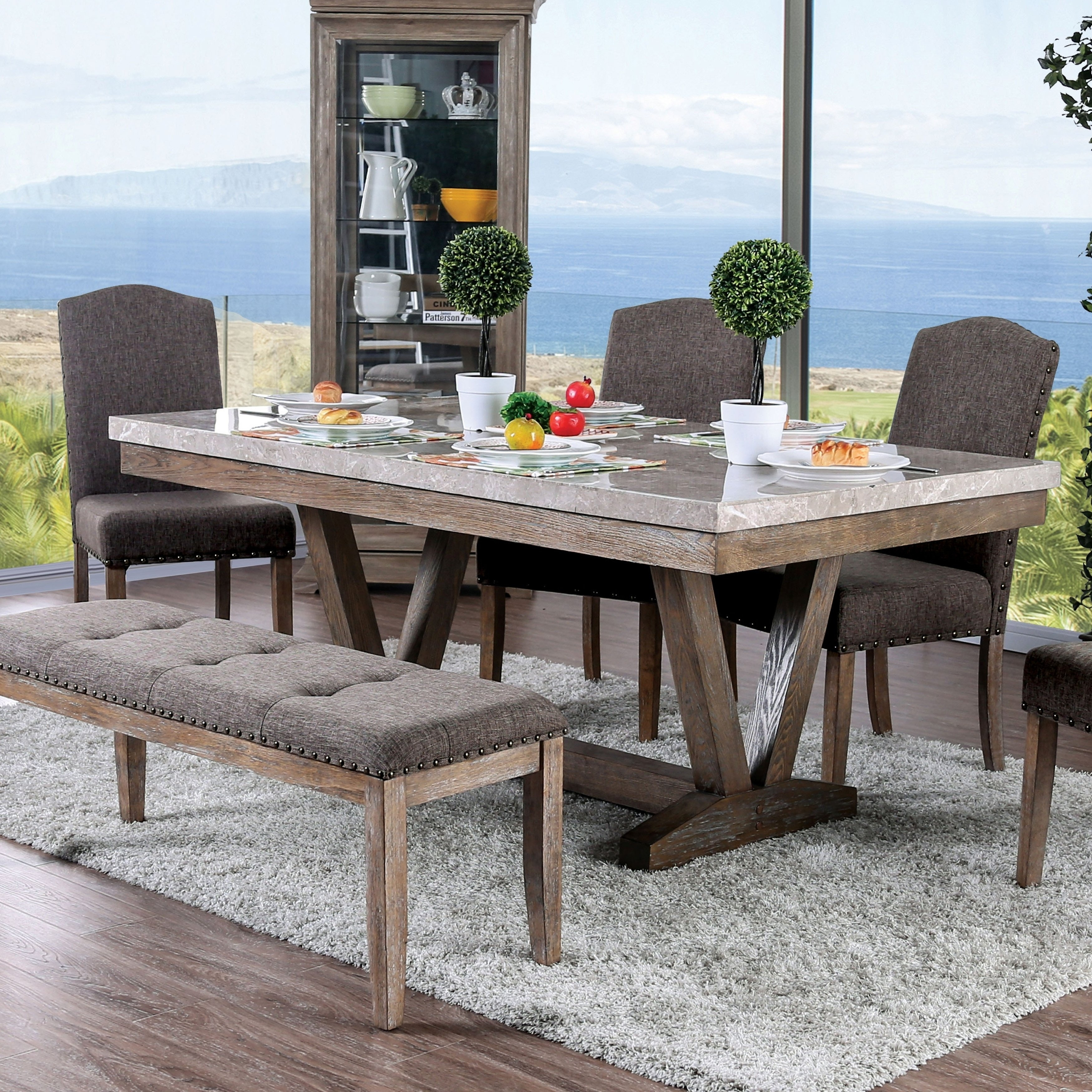 Shop Furniture Of America Emmiyah Rustic Genuine Marble Dining Table Regarding Most Current Patterson 6 Piece Dining Sets (Image 18 of 20)