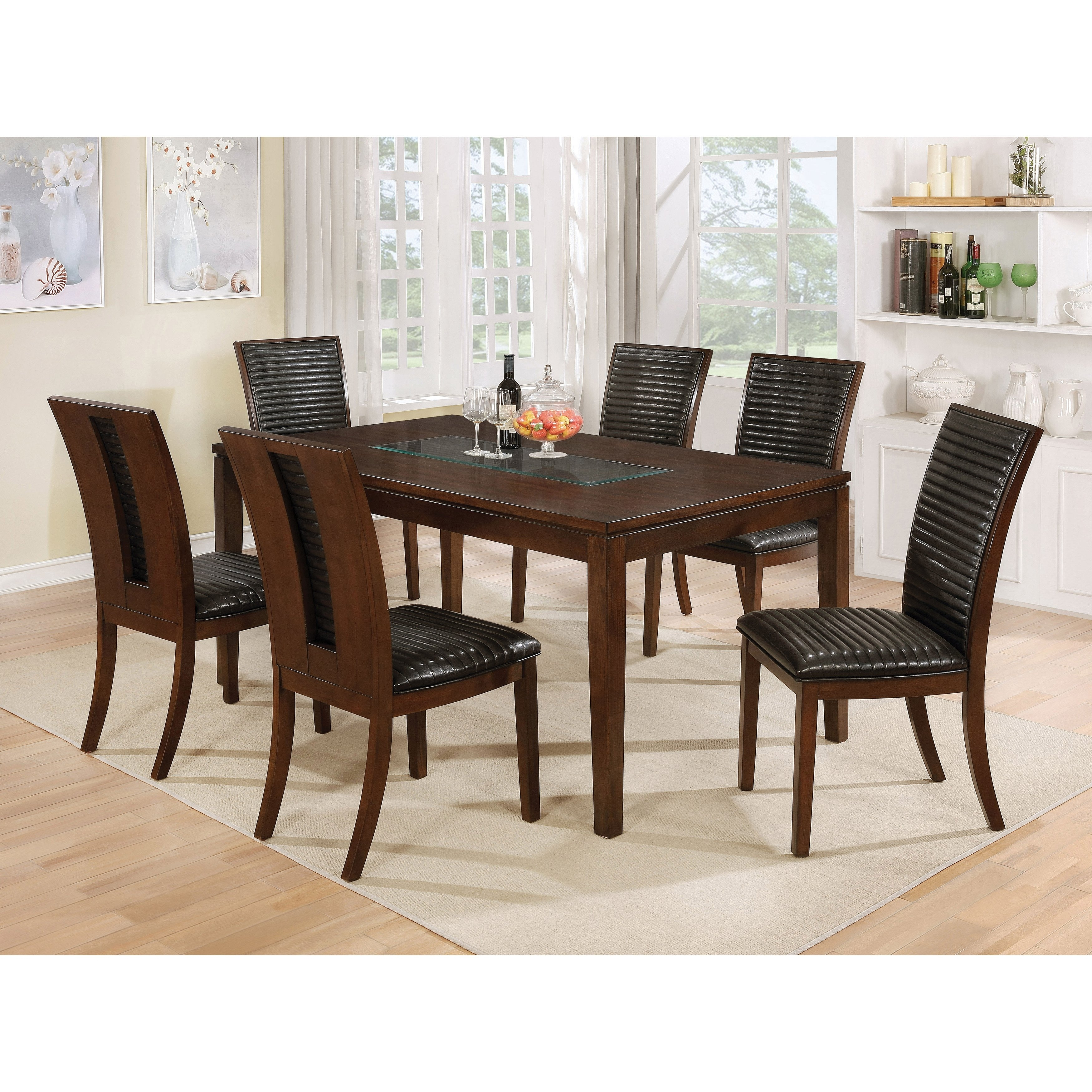 Shop Furniture Of America Gileon Walnut/ Espresso Wood Transitional For Newest Leon 7 Piece Dining Sets (View 3 of 20)