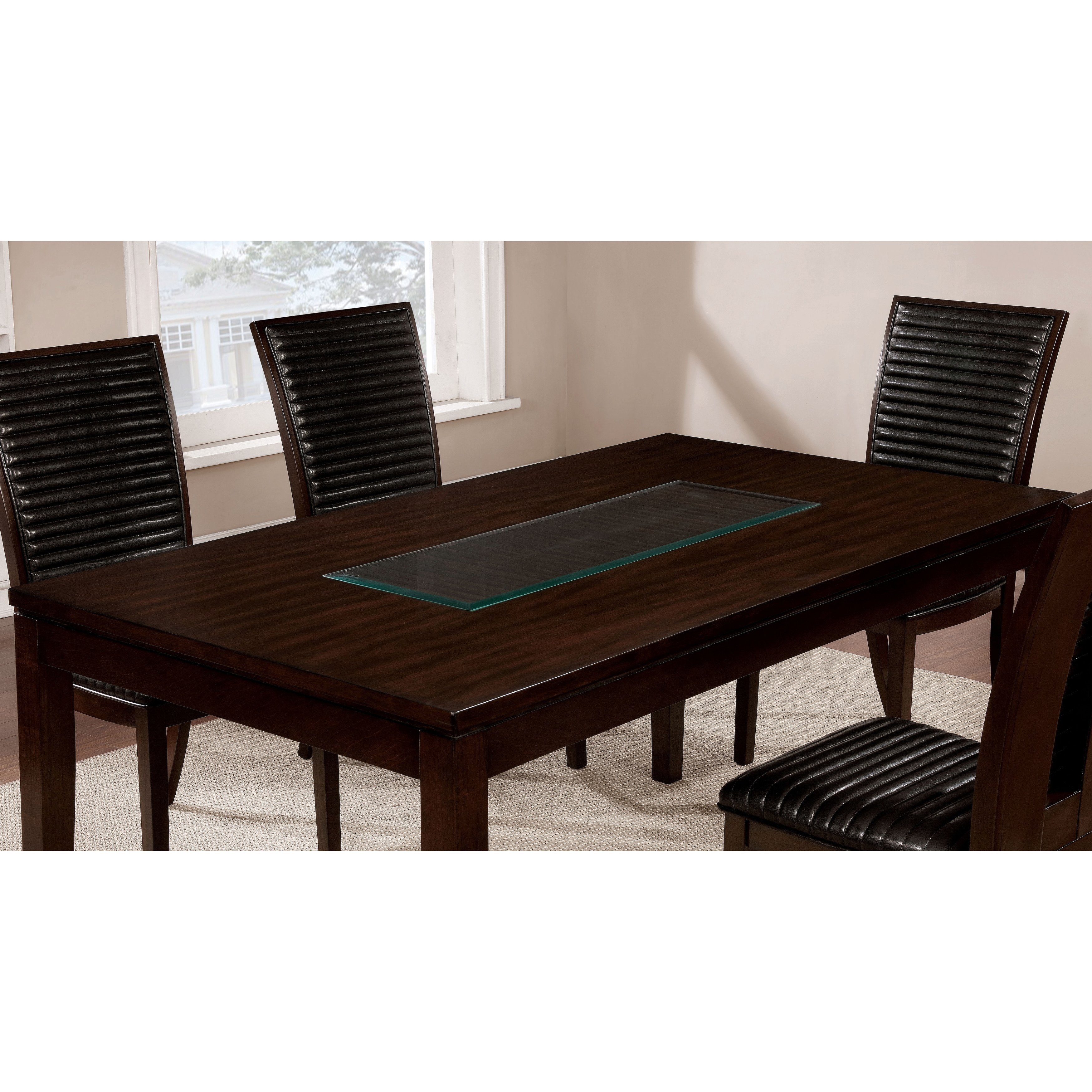 Shop Furniture Of America Gileon Walnut/ Espresso Wood Transitional Intended For 2017 Leon 7 Piece Dining Sets (View 19 of 20)